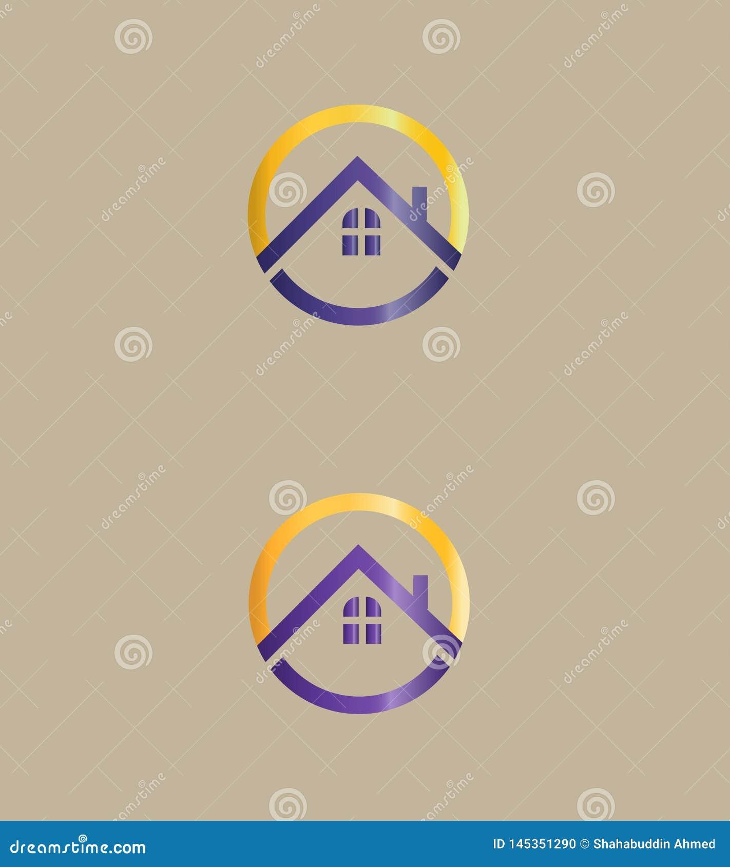 Abstrakt Real Estate logo, symbol Vektorlogodesign Taklogo