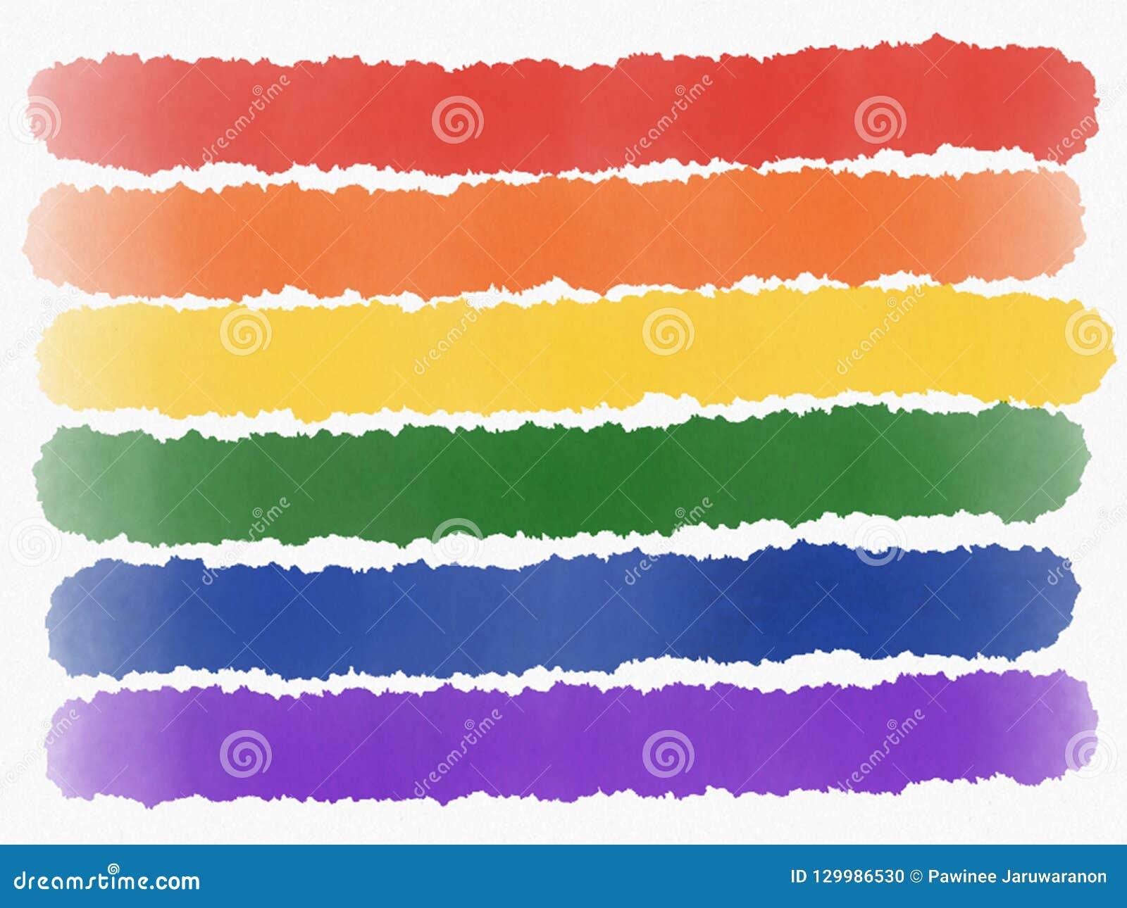 Abstrakt regnbågemålning isolerade LGBT-stolthetflagga på vit bakgrund för flygillustration för näbb dekorativ bild dess paper st