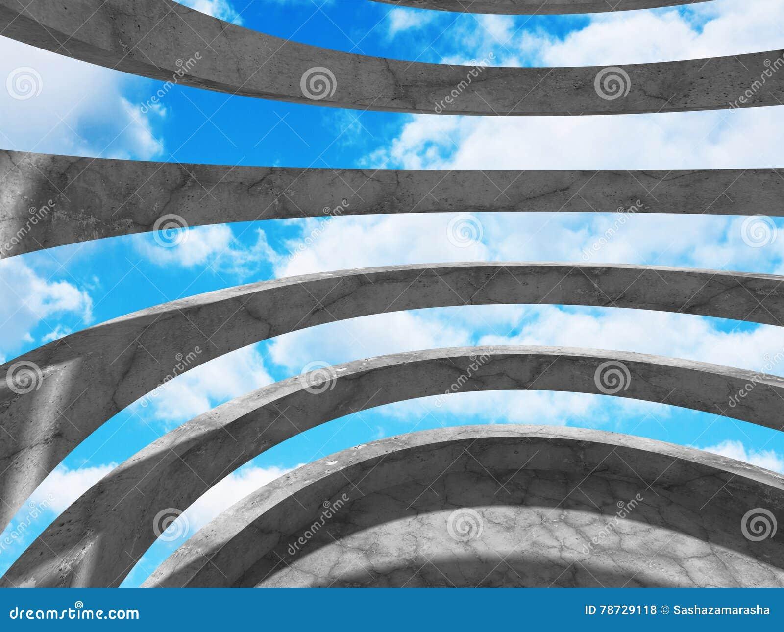 Abstrakt rundabetongarkitektur på molnhimmelbakgrund