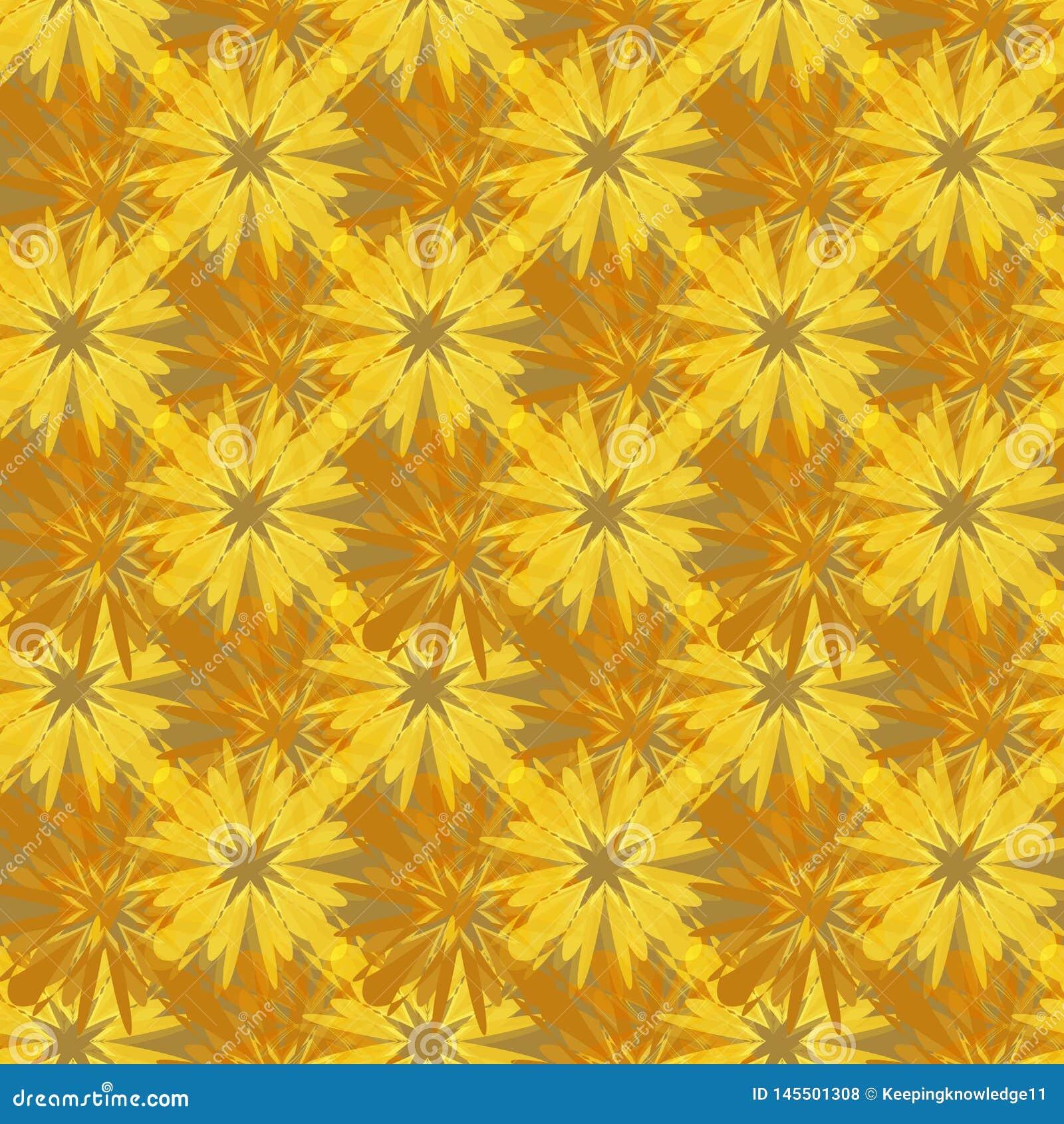Abstrakt sömlös gul brun invecklad mosaikmodell