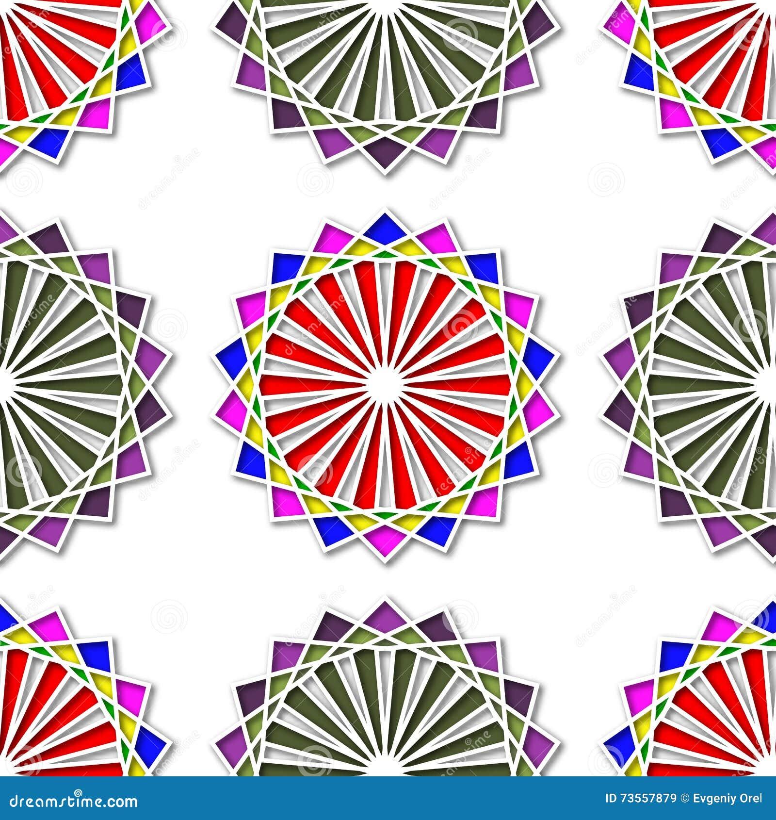 Abstrakt sömlös kulör ljus vektortapetmodell med etnisk design Sömlös modell för rund design