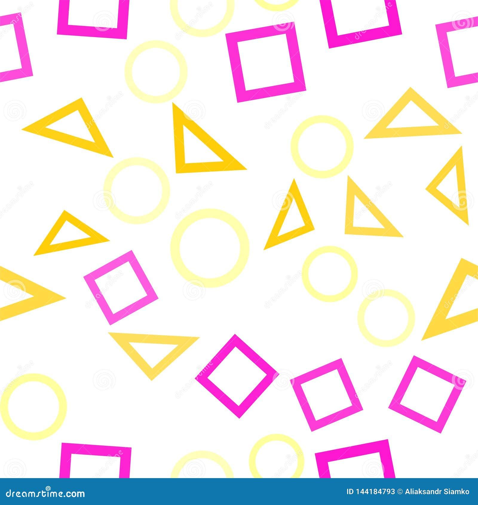 Abstrakt sömlös modell med färgrika blåa, gråa, gula orange kaotiska cirklar och trianglar och fyrkanter på beiga oändlighet