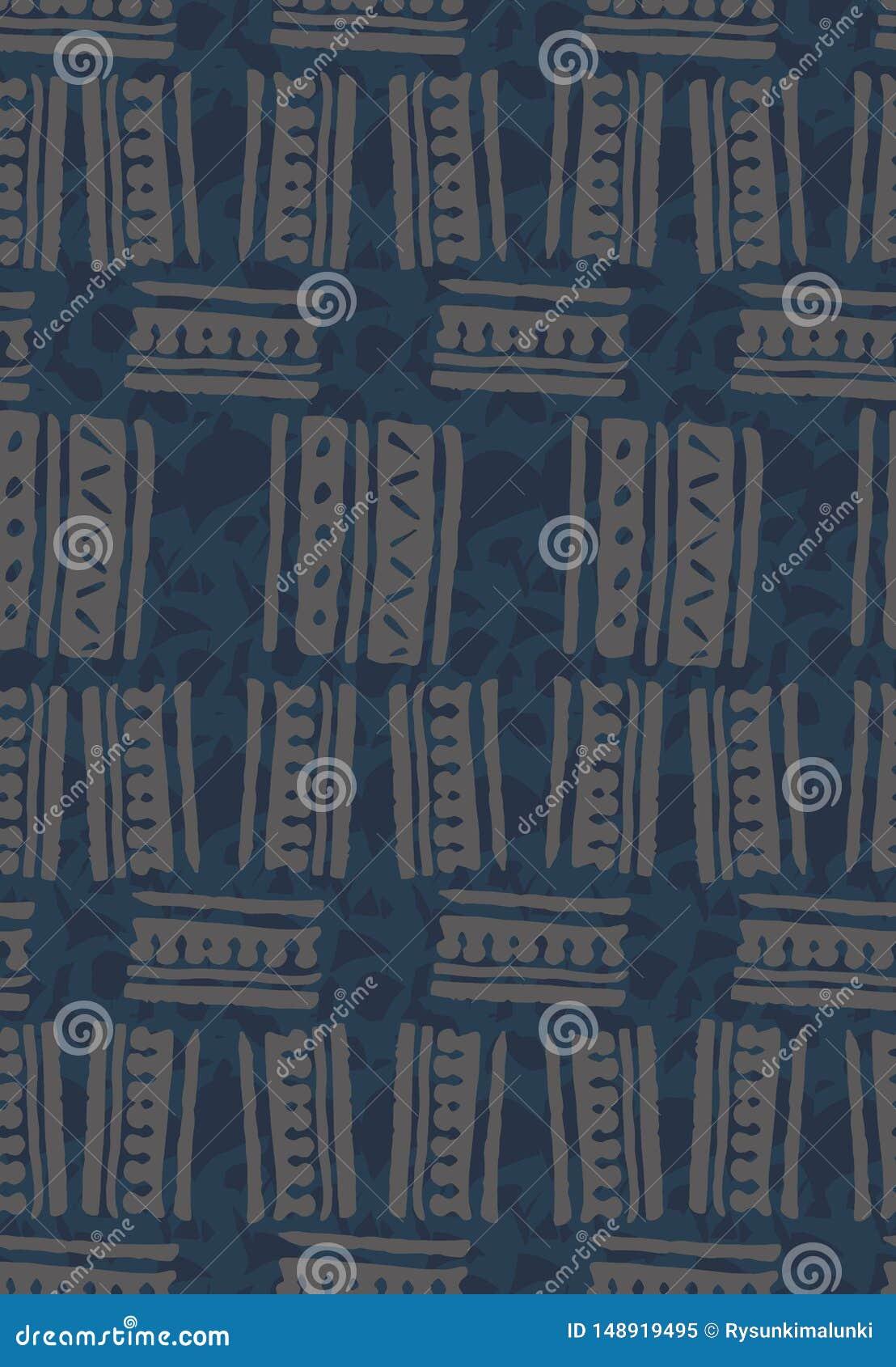 Abstrakt sömlös vektormodell med utdragna fyrkantiga former för hand på texturerad blå bakgrund