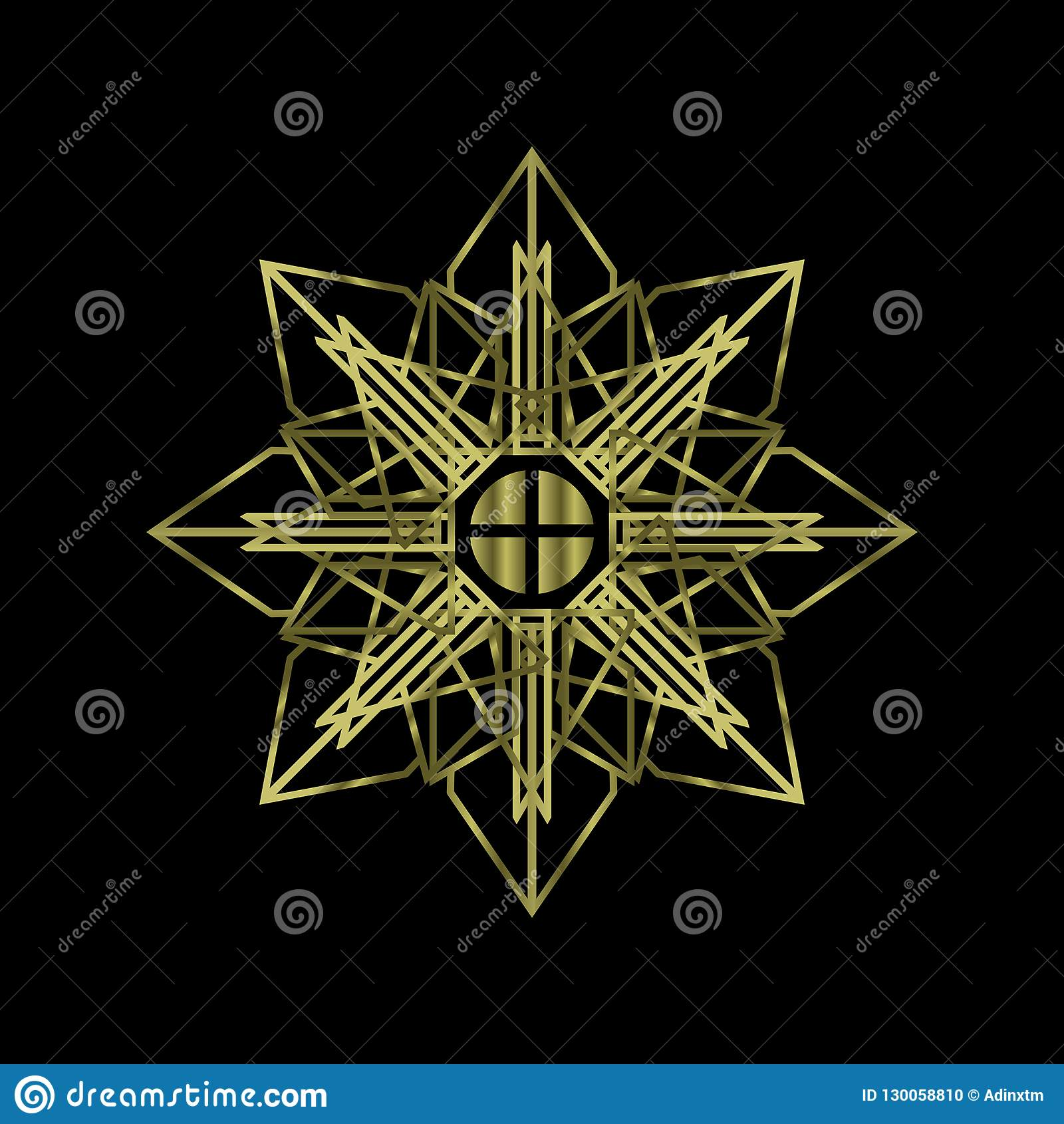 Abstrakt sakral geometrimandalalyx med guld- färg Chakra symbolreligion av anda
