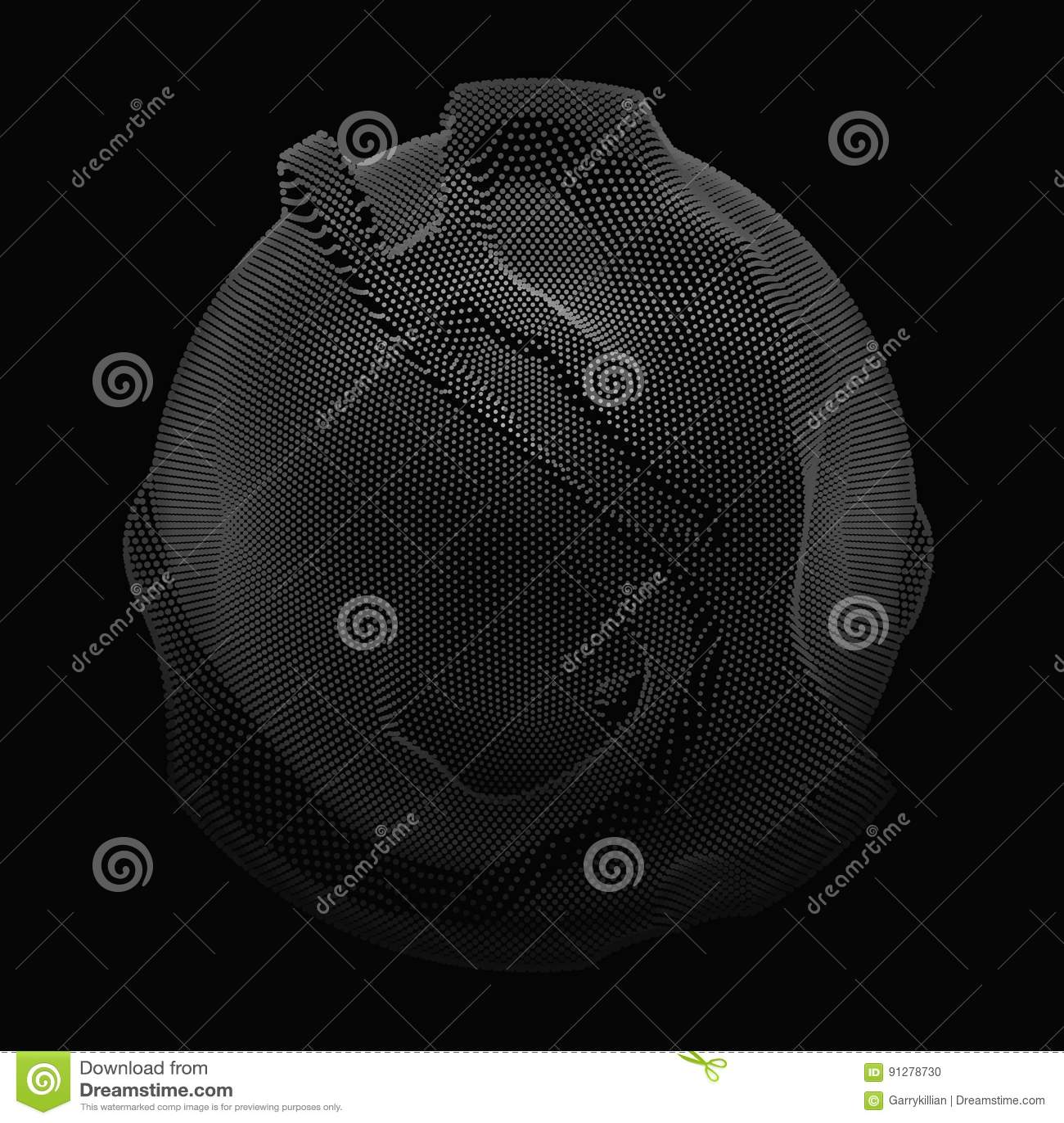 Abstrakt sfär för vektorgråtoningrepp på mörk bakgrund Futuristiskt stilkort