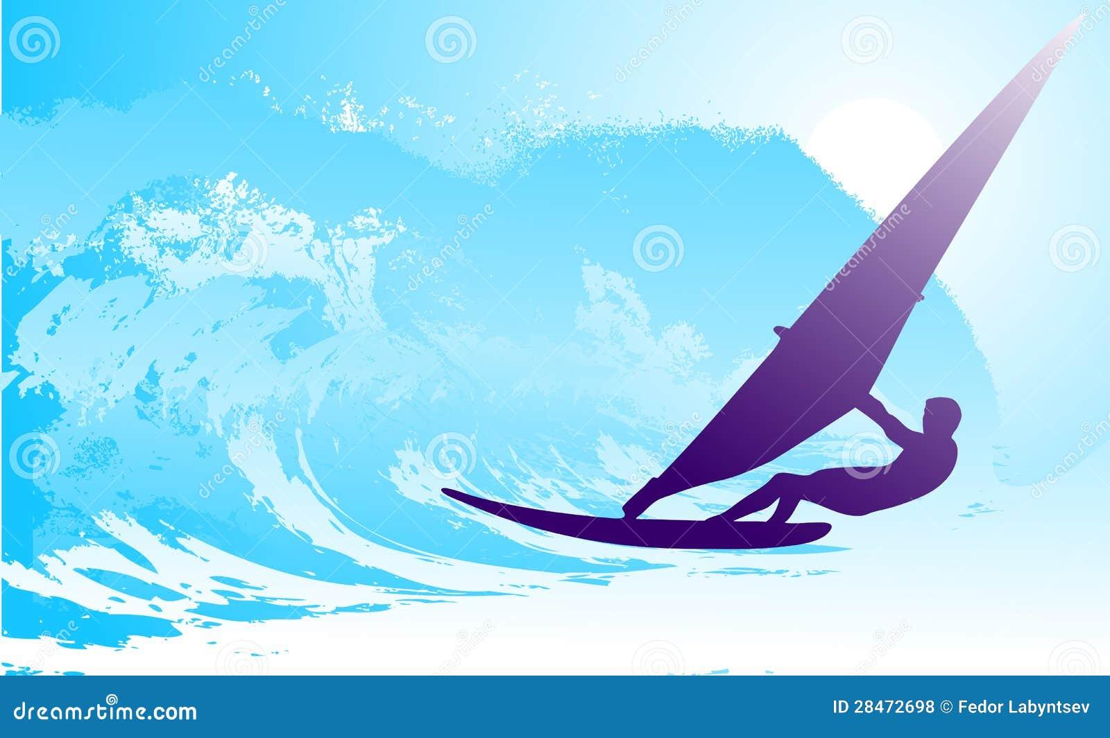 Abstrakt silhouette av surfaren på hav