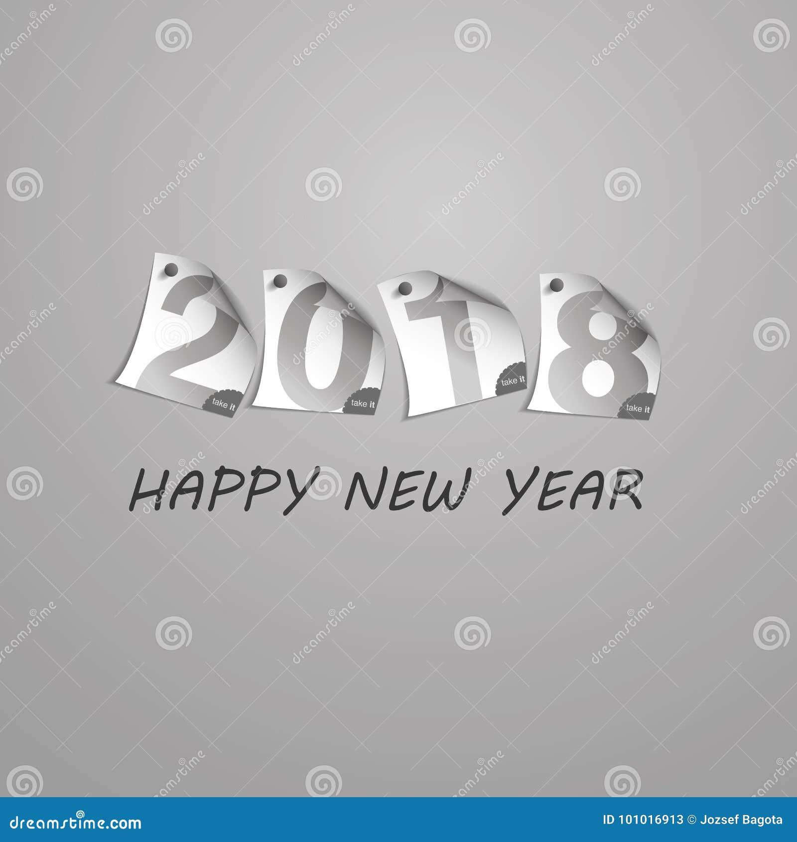Abstrakt silverGrey New Year Card Template design med tal