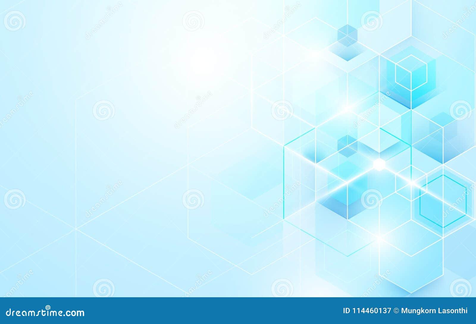 Abstrakt skinande blått geometriskt och sexhörningar Design för broschyr för vetenskaps- eller teknologibegreppsbakgrundsmall