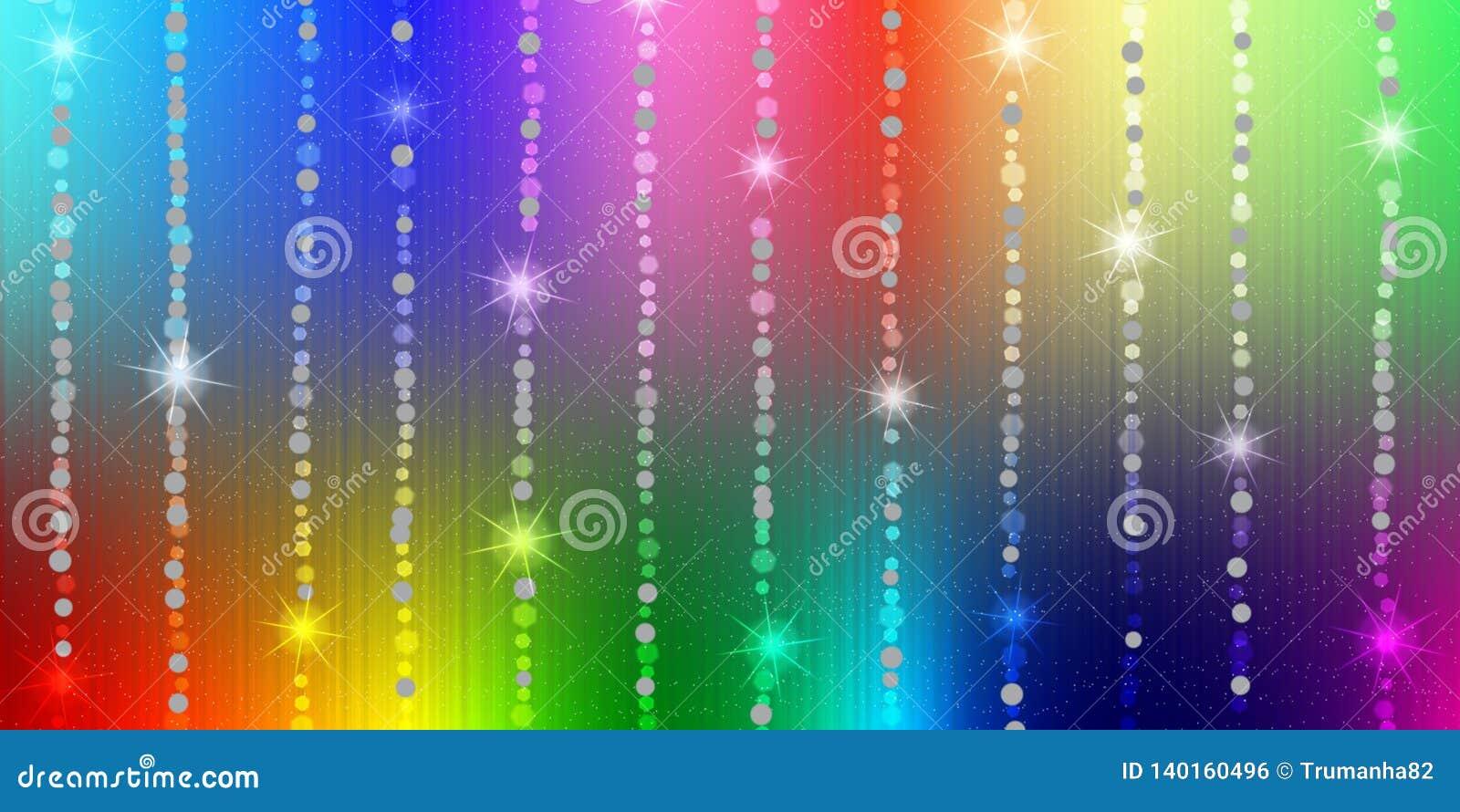 Abstrakt skinande mousserar och stjärnor i regnbågefärgbakgrund