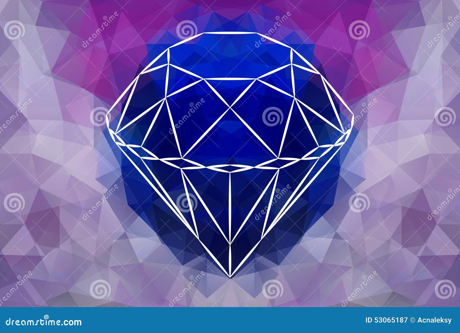 Abstrakt smyckendiamant för vektor, geometrisk form av gemstonen