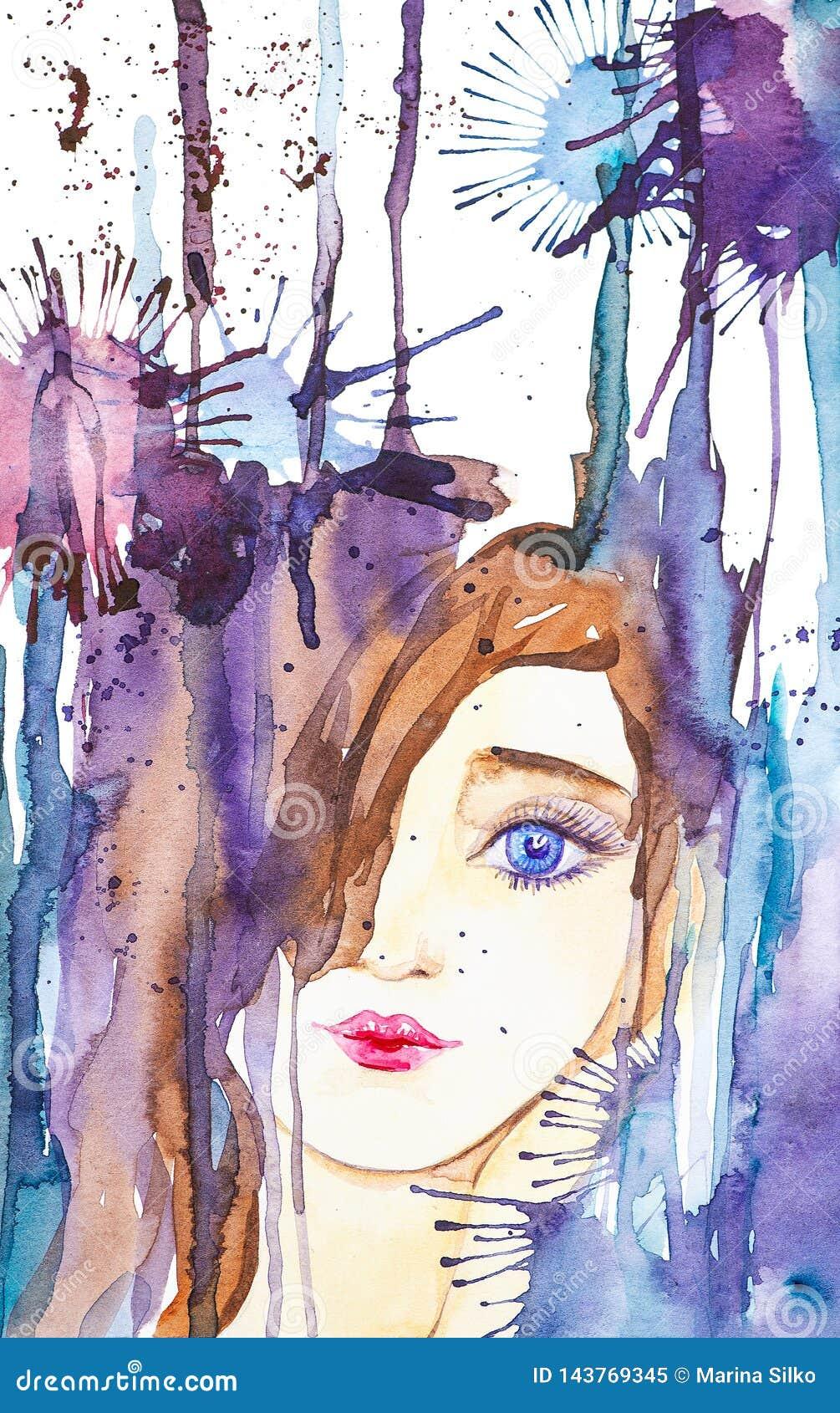 Abstrakt stående av en härlig ung flicka på bakgrunden av droppar och fläckar Vattenf?rgillustration som isoleras p? vit