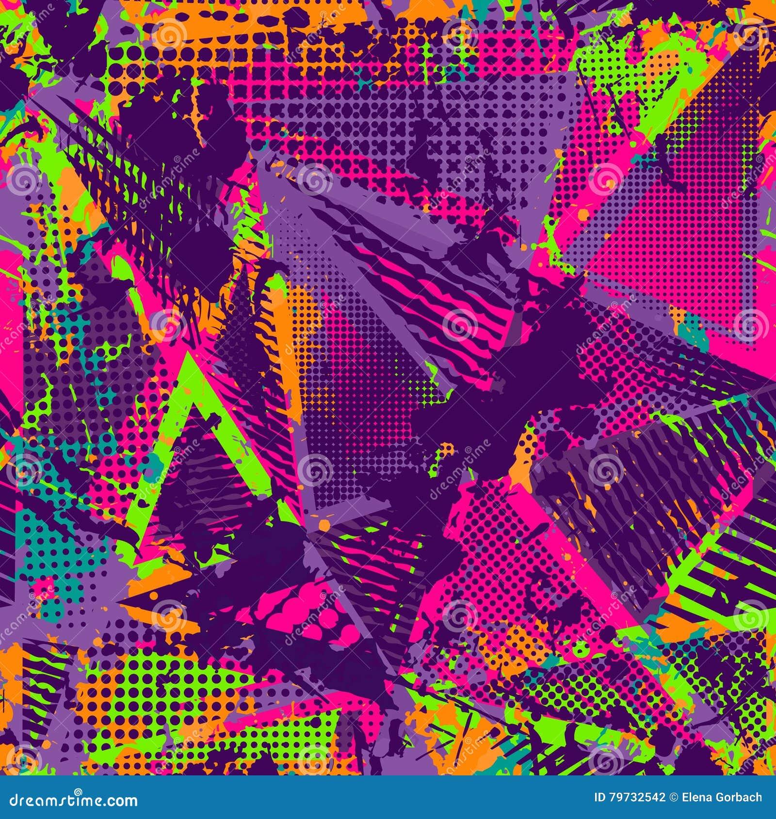 Abstrakt stads- sömlös modell Grunge texturbakgrund Hasade droppsprejer, trianglar, prickar, neonsprutmålningsfärg