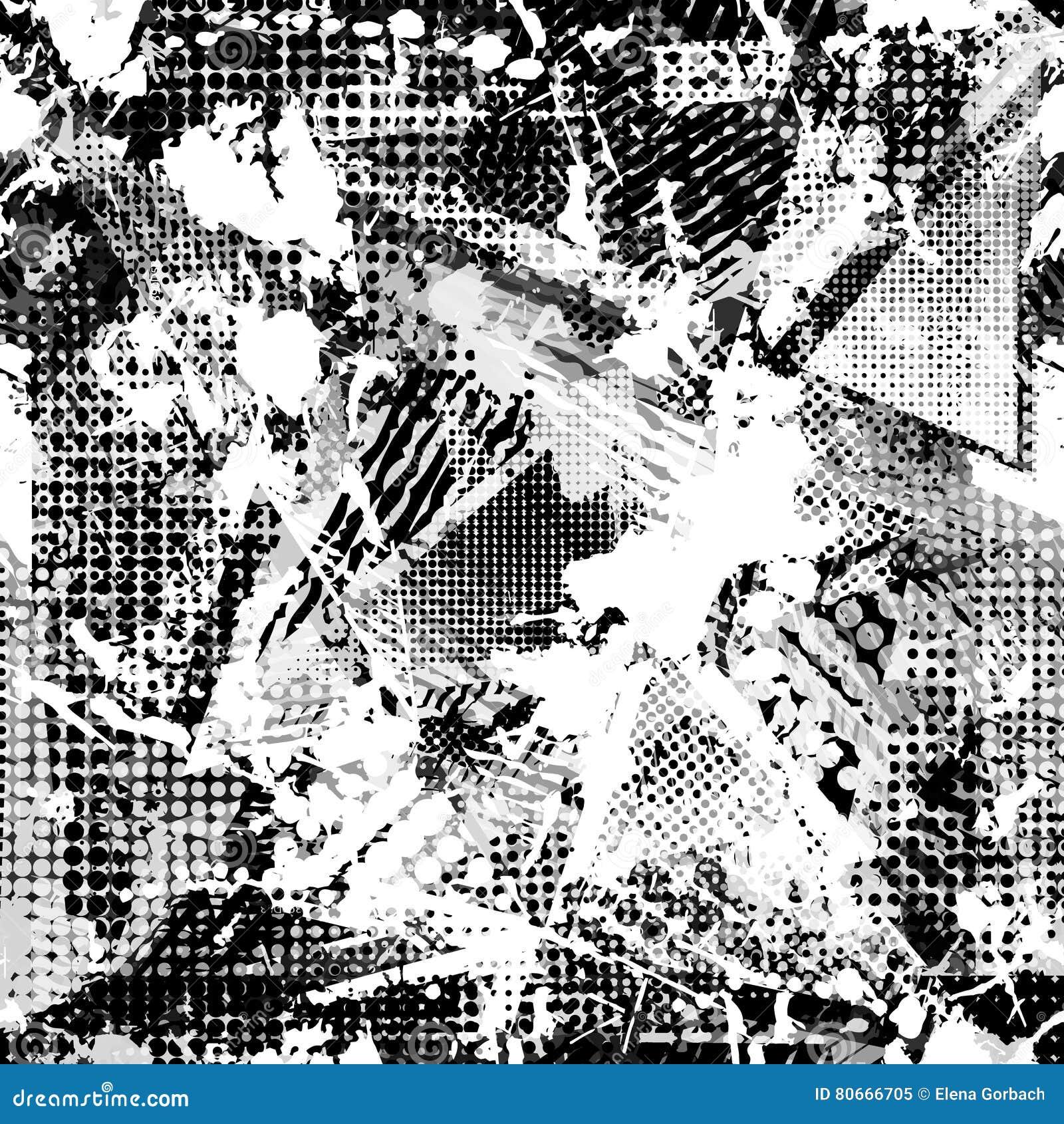 Abstrakt stads- sömlös modell Grunge texturbakgrund Hasade droppsprejer, trianglar, prickar, svartvit sprej