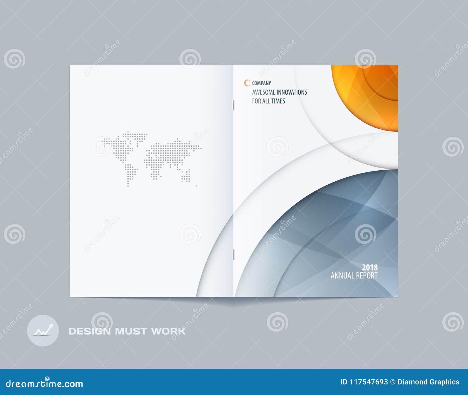 Abstrakt stil för runda för dubblett-sida broschyrdesign med färgglade cirklar för att brännmärka Affärsvektorpresentation