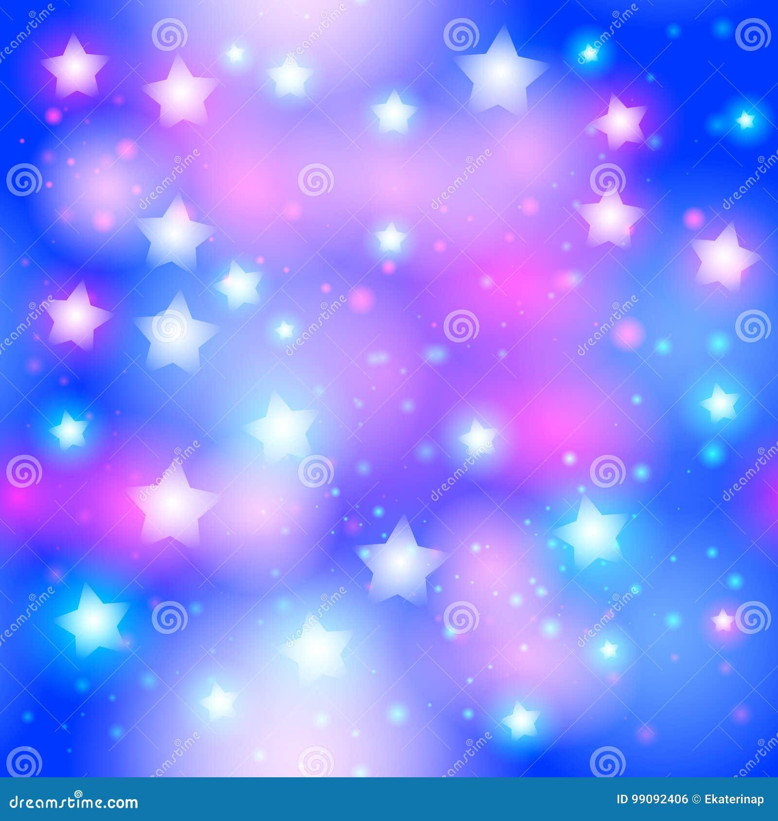 Abstrakt stjärnklar sömlös modell med neonstjärnan på ljus rosa färg- och blåttbakgrund Galaxnatthimmel med stjärnor vektor
