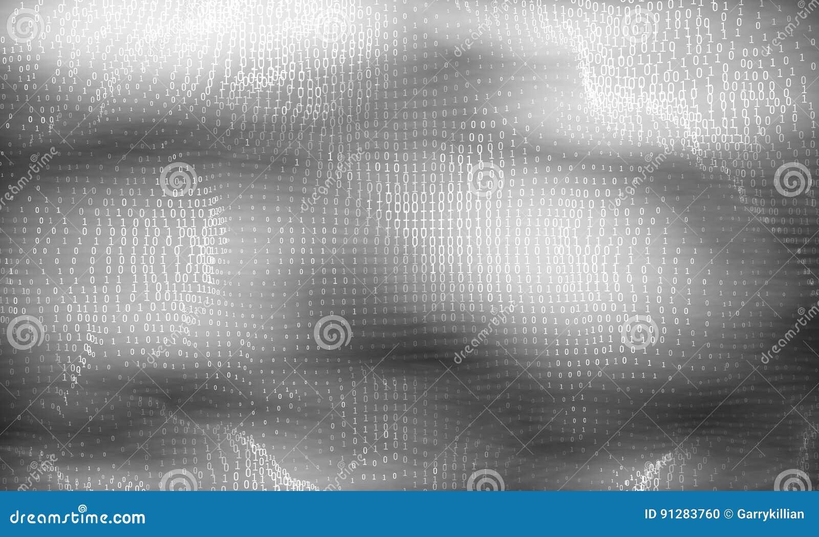 Abstrakt stor datavisualization för vektor Glödande dataflöde för gråton som binära nummer Framställning för datorkod