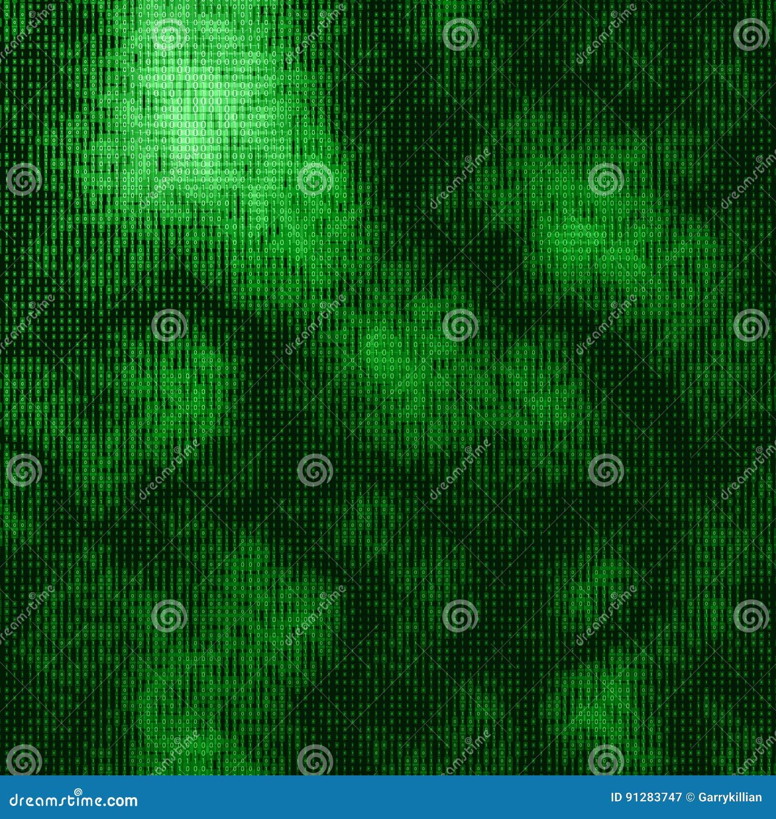 Abstrakt stor datavisualization för vektor Grönt dataflöde som binära nummerrader Framställning för datorkod
