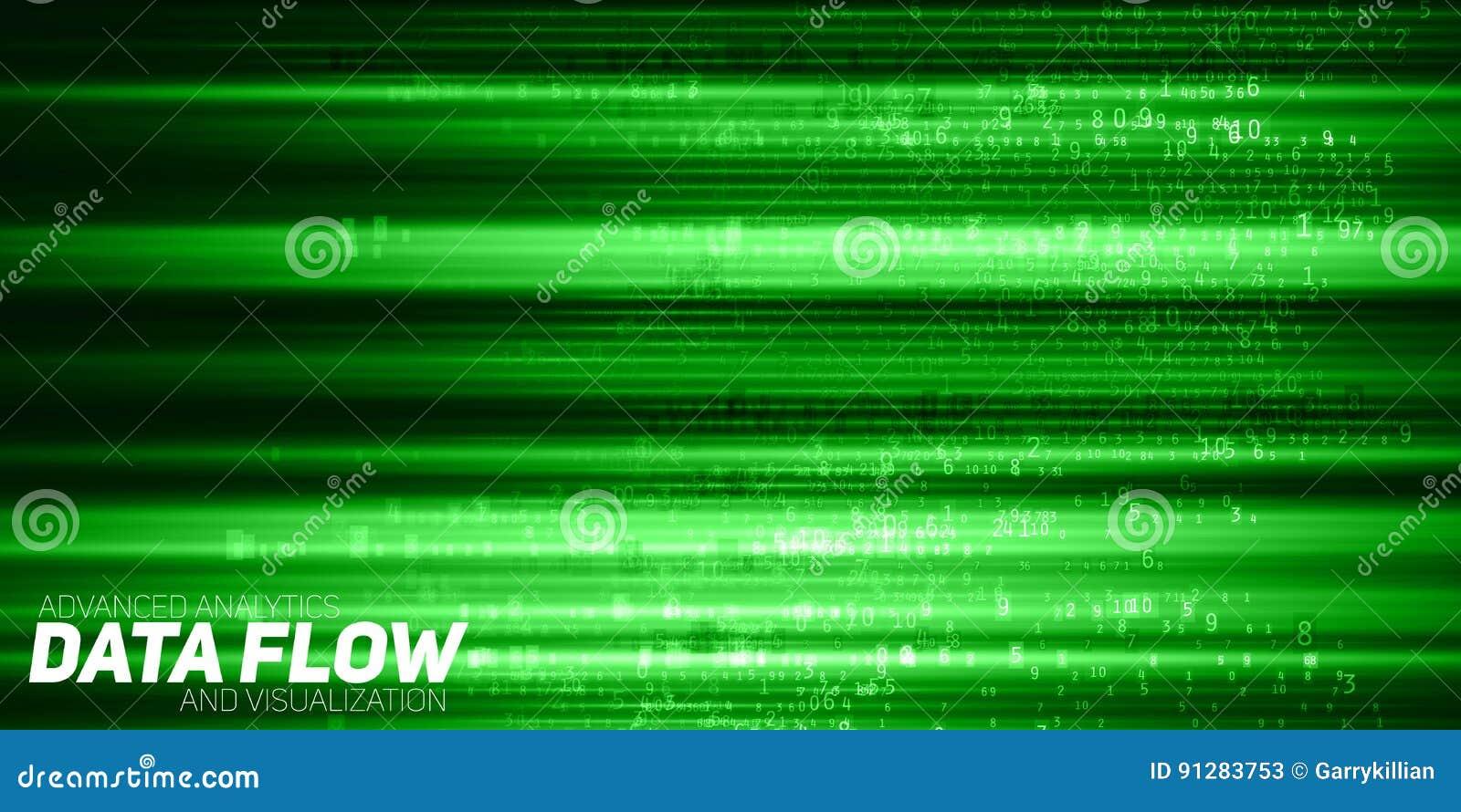 Abstrakt stor datavisualization för vektor Grönt flöde av data som nummerrader Informationskodframställning