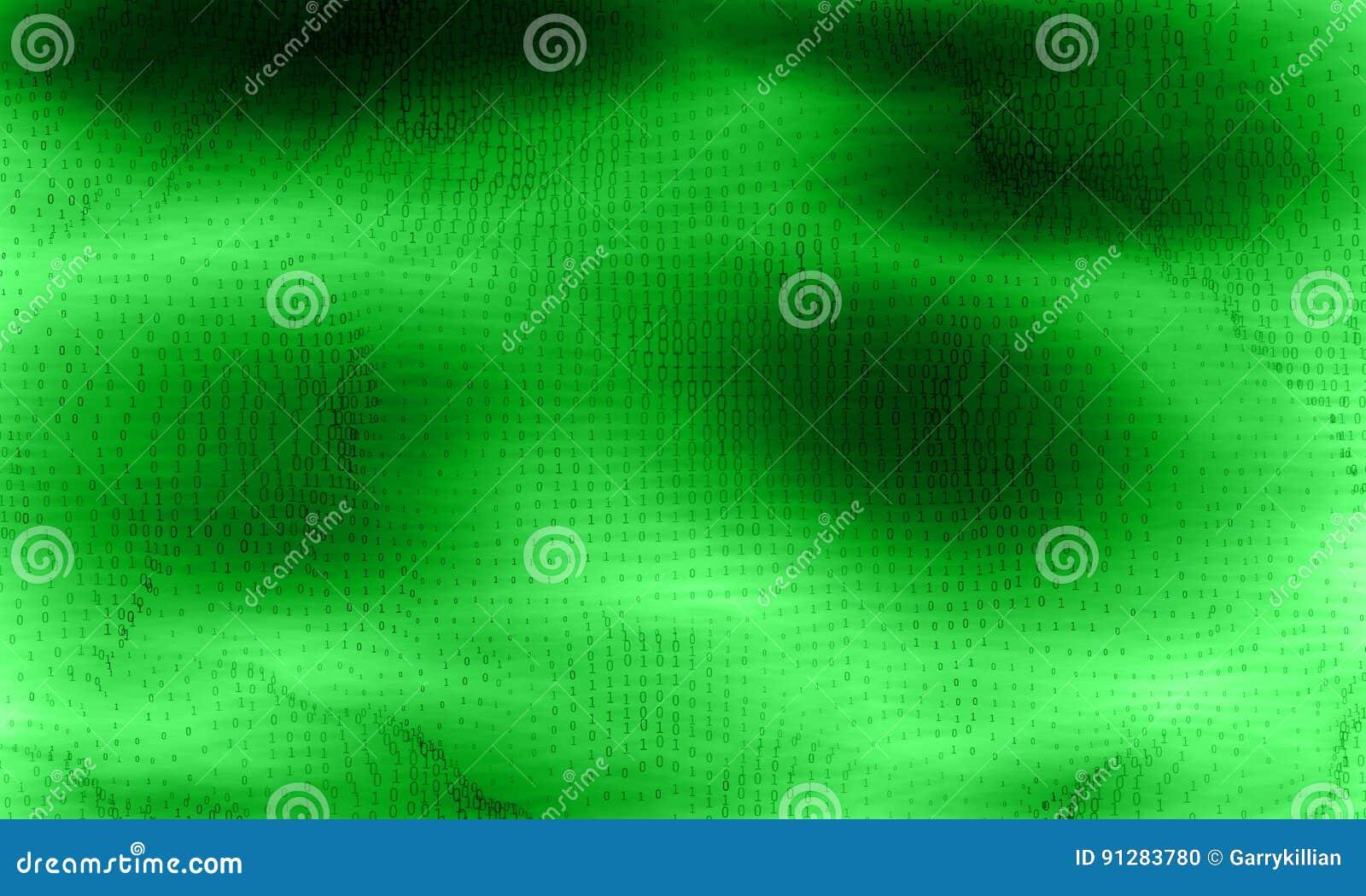 Abstrakt stor datavisualization för vektor Grönt glödande dataflöde som binära nummer Framställning för datorkod