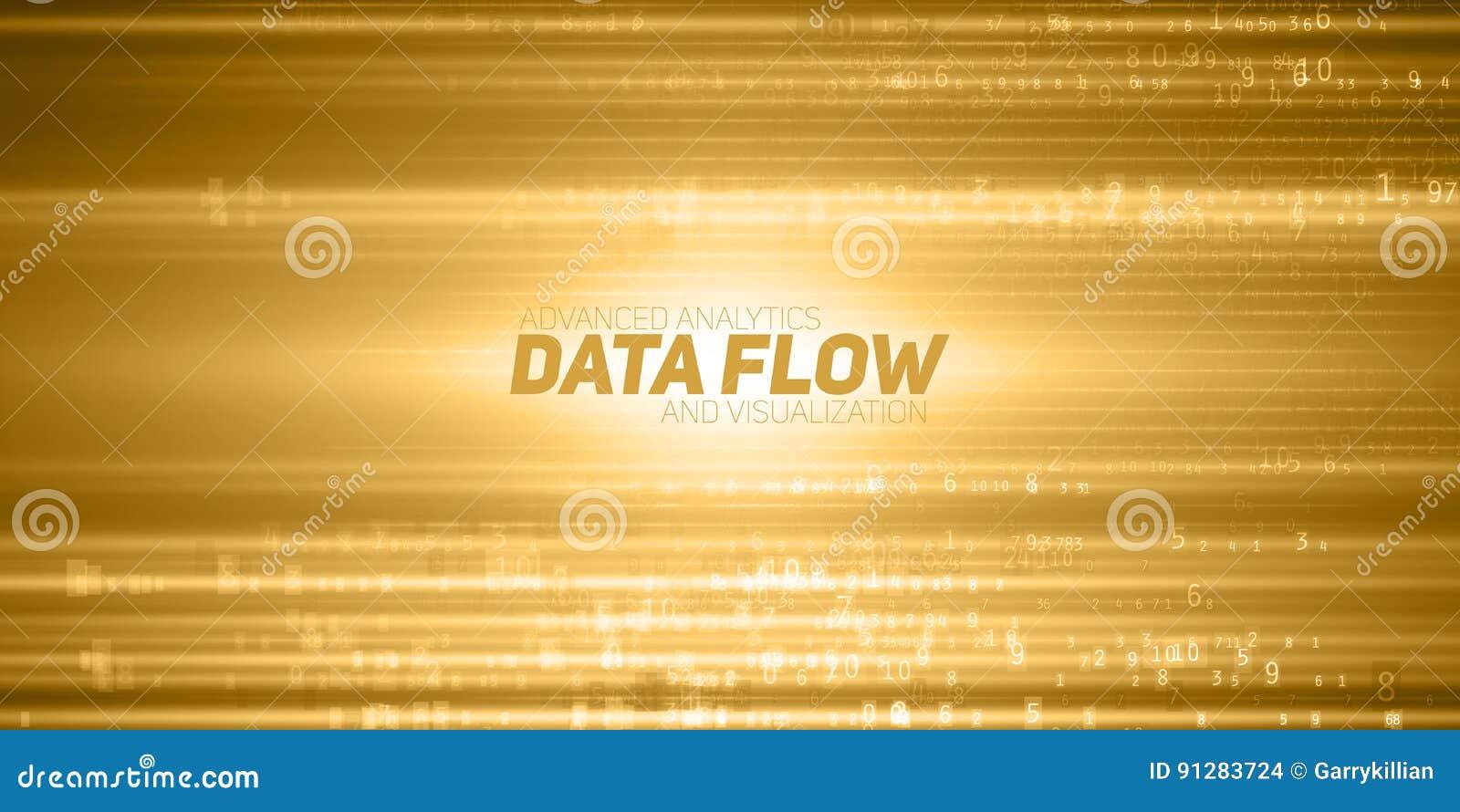 Abstrakt stor datavisualization för vektor Gult flöde av data som nummerrader Informationskodframställning