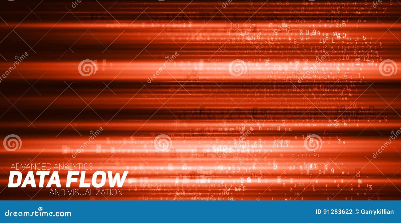 Abstrakt stor datavisualization för vektor Rött flöde av data som nummerrader Informationskodframställning