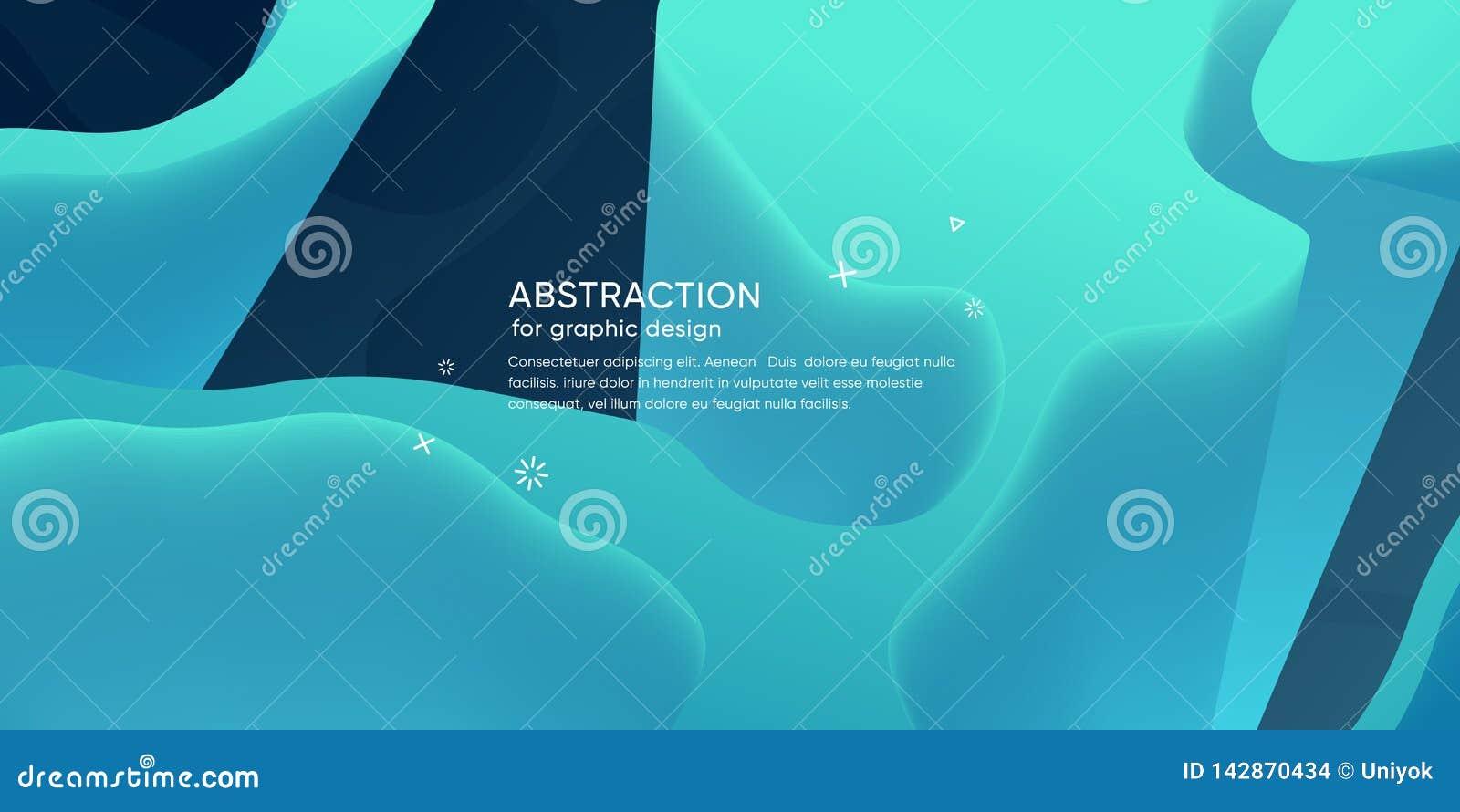 Abstrakt tapet med dynamisk form Bakgrund med vätskeformer Moderiktig bakgrund för futuristisk is modern orientering