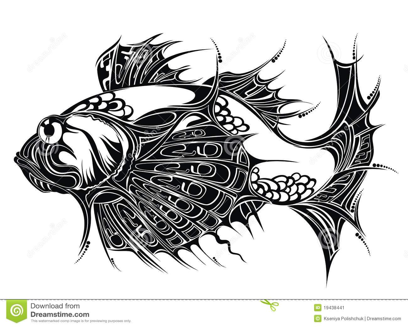 Abstrakt Tatuering F R Bakgrundsdesignfisk Vektor