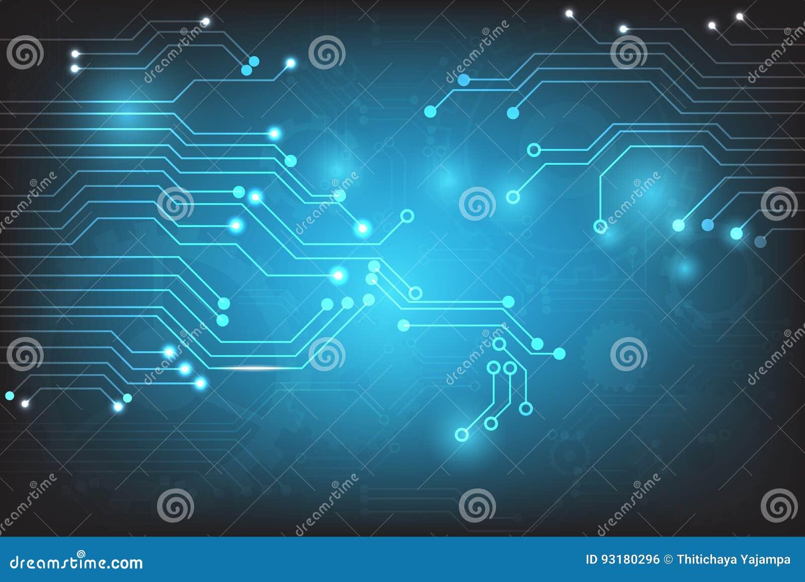 Abstrakt teknologi för vektor med beståndsdelar för strömkretsbräde på blå bakgrund