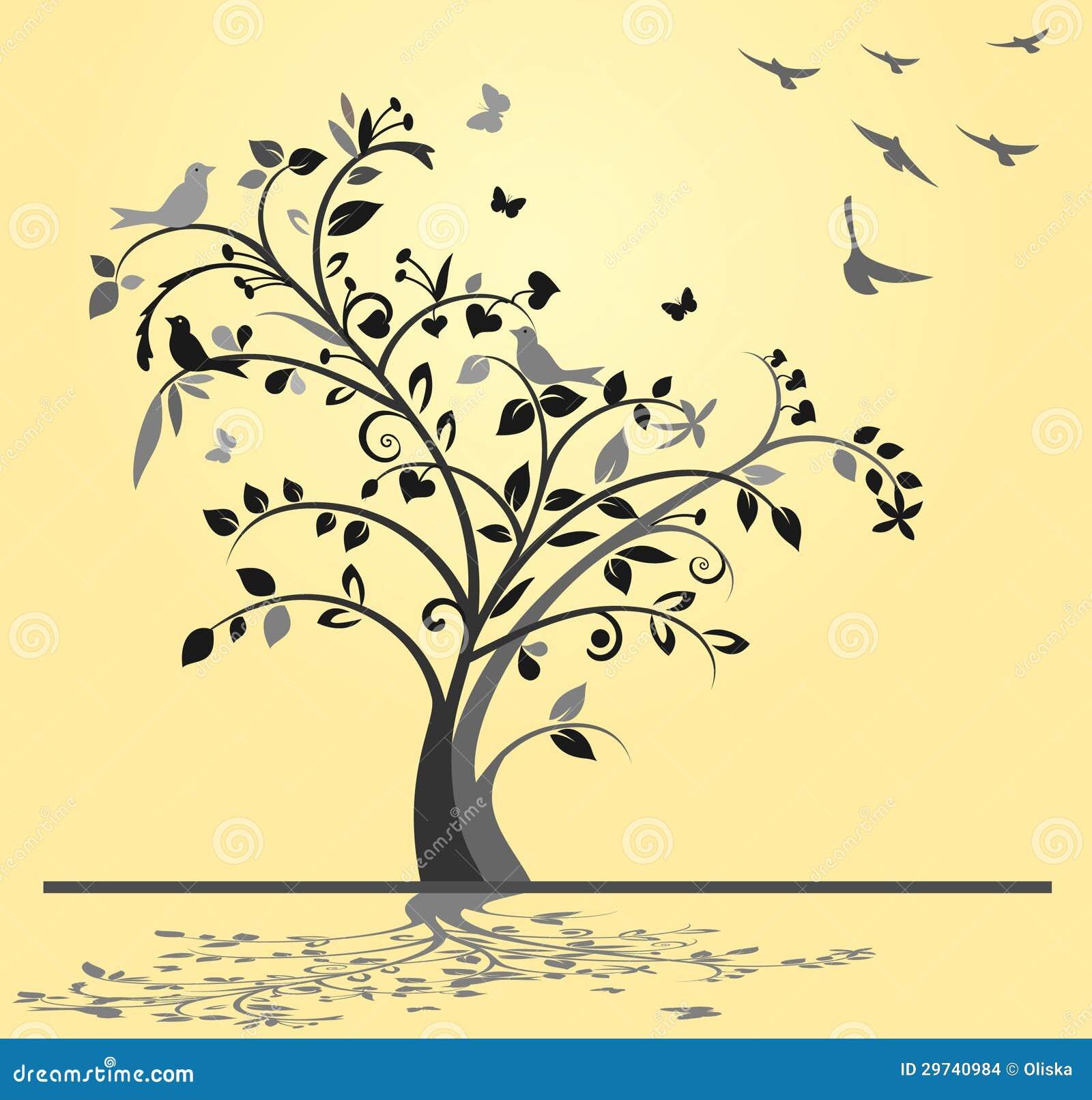 Tree med fåglar