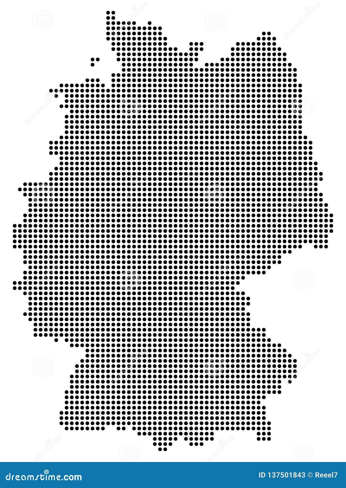 Abstrakt Tysklandöversikt som består av svarta prickar/cirklar som isoleras på vit bakgrund