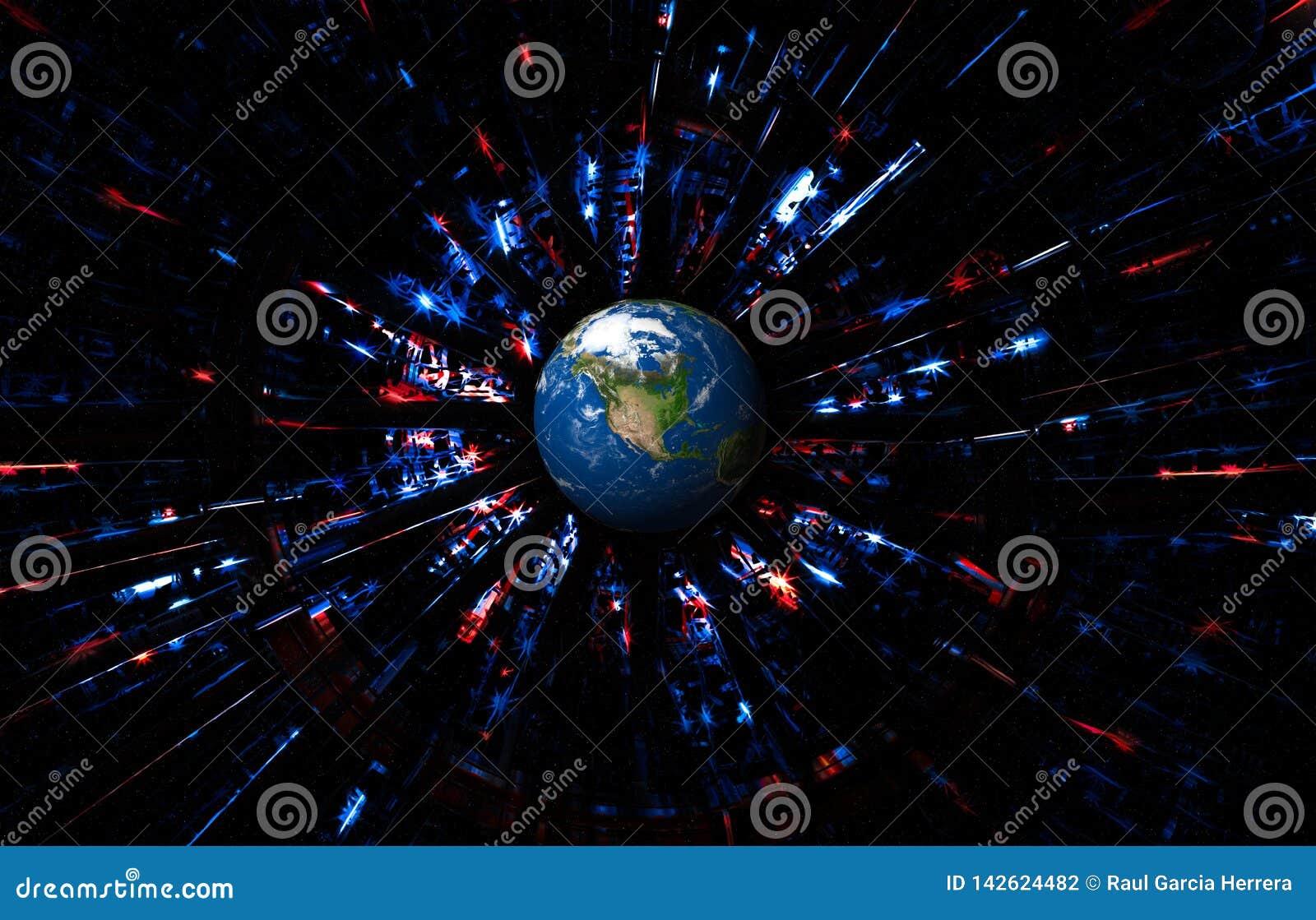Abstrakt USA-bakgrund med planetjord Futuristiskt amerikanska flagganbegrepp för självständighetsdagen, veteran, minnesdagen o