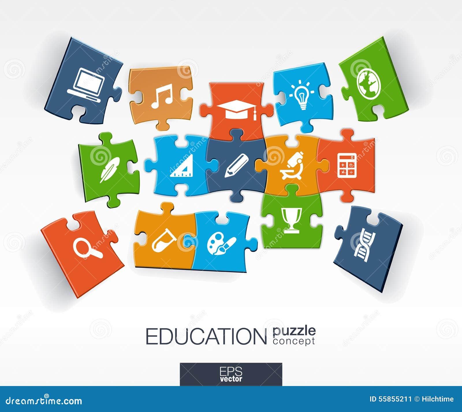 Abstrakt utbildningsbakgrund, förbindelsefärg förbryllar, integrerade plana symboler 3d infographic begrepp med skolan, vetenskap