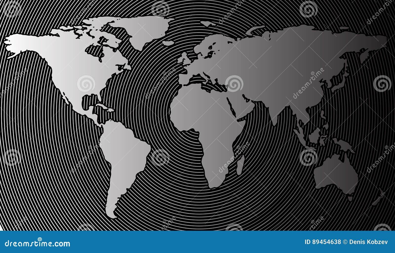 Abstrakt världskarta på en bakgrund av cylindriska cirklar Vektorillustration i halvton