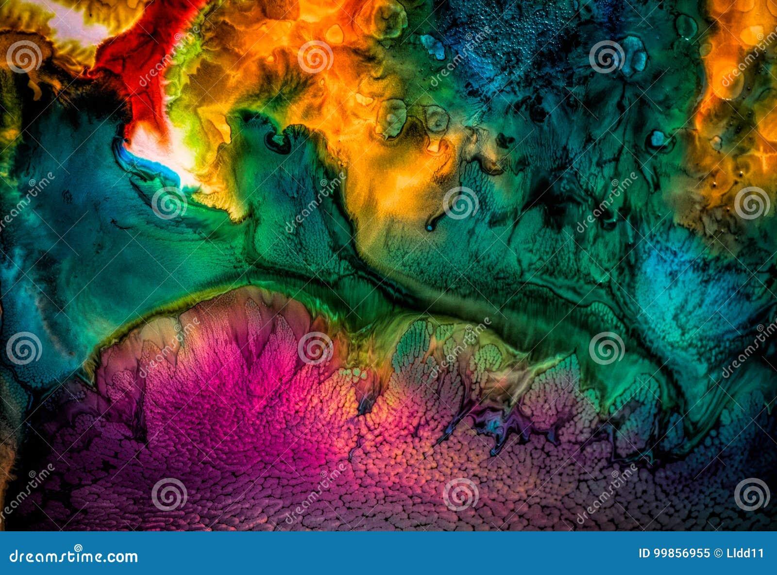 Abstrakt vätskemålning med textur