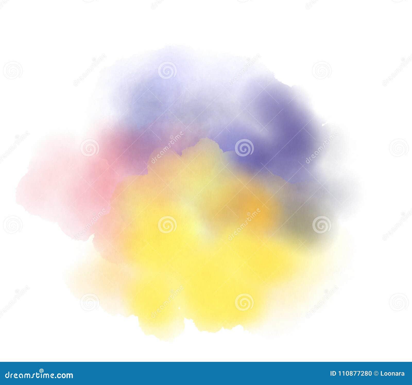 Abstrakt vattenfärgfläck på vit bakgrund
