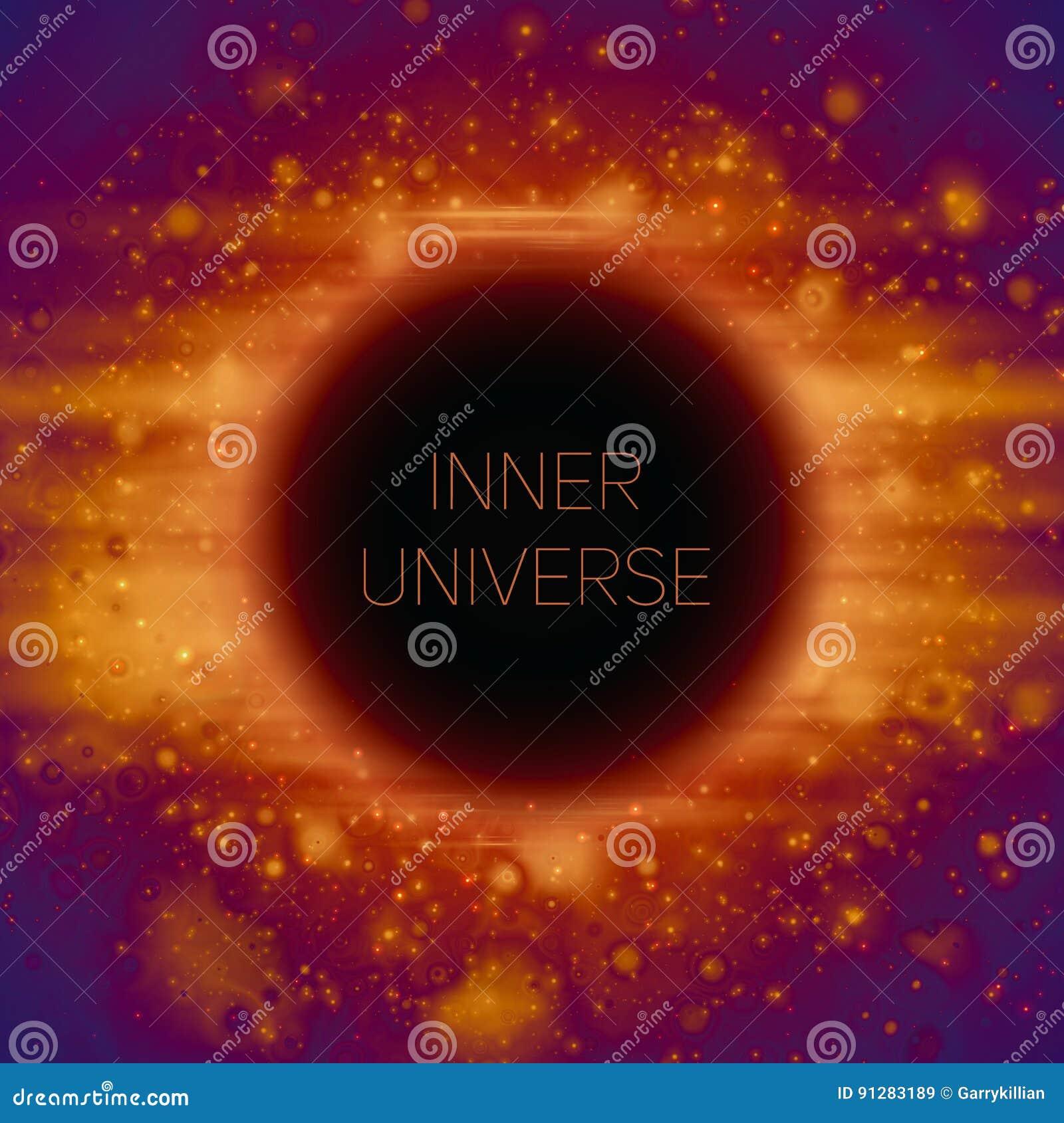 Abstrakt vektorbakgrund av det konstiga svarta hålet i utrymme Glänsande stjärnor som faller in i mörker Mousserar av främmande s