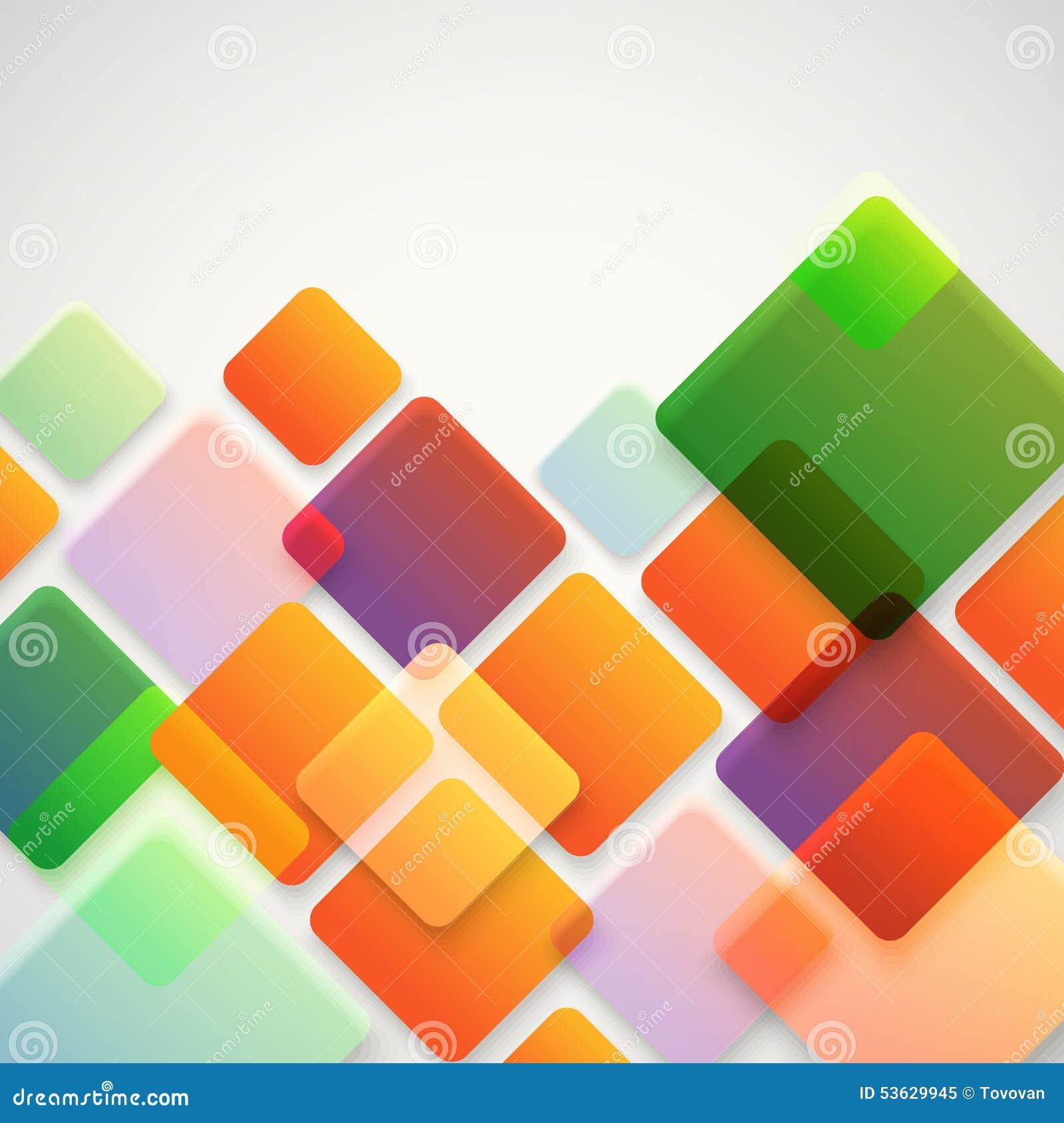Abstrakt vektorbakgrund av olika färgfyrkanter