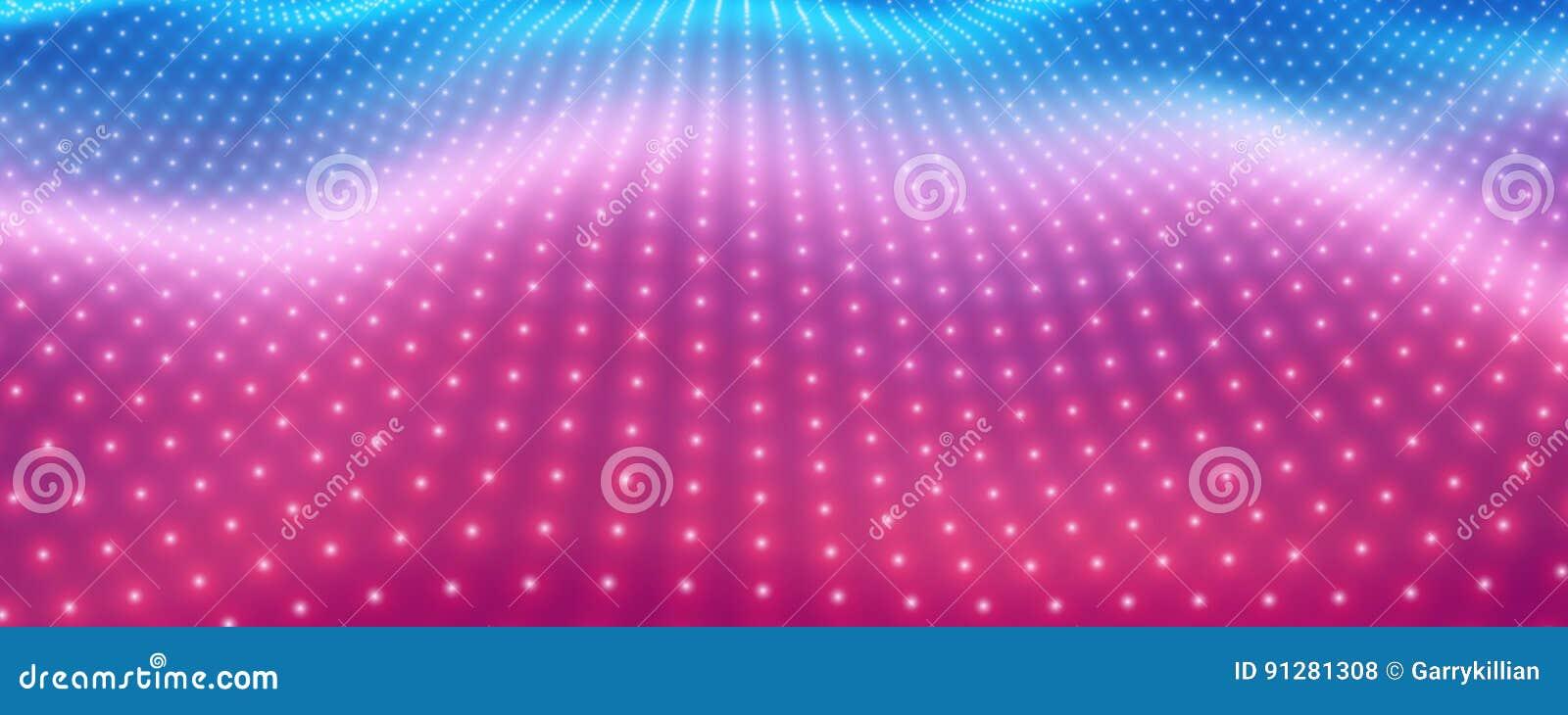 Abstrakt vektorbakgrund med färgrika neonljus som bildar krabb yttersida Flöde för neoncyberyttersida