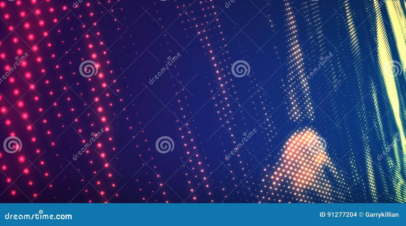 Abstrakt vektorbakgrund med glänsande neonljus Neontecken med abstrakt bild i perspektiv glödande partiklar