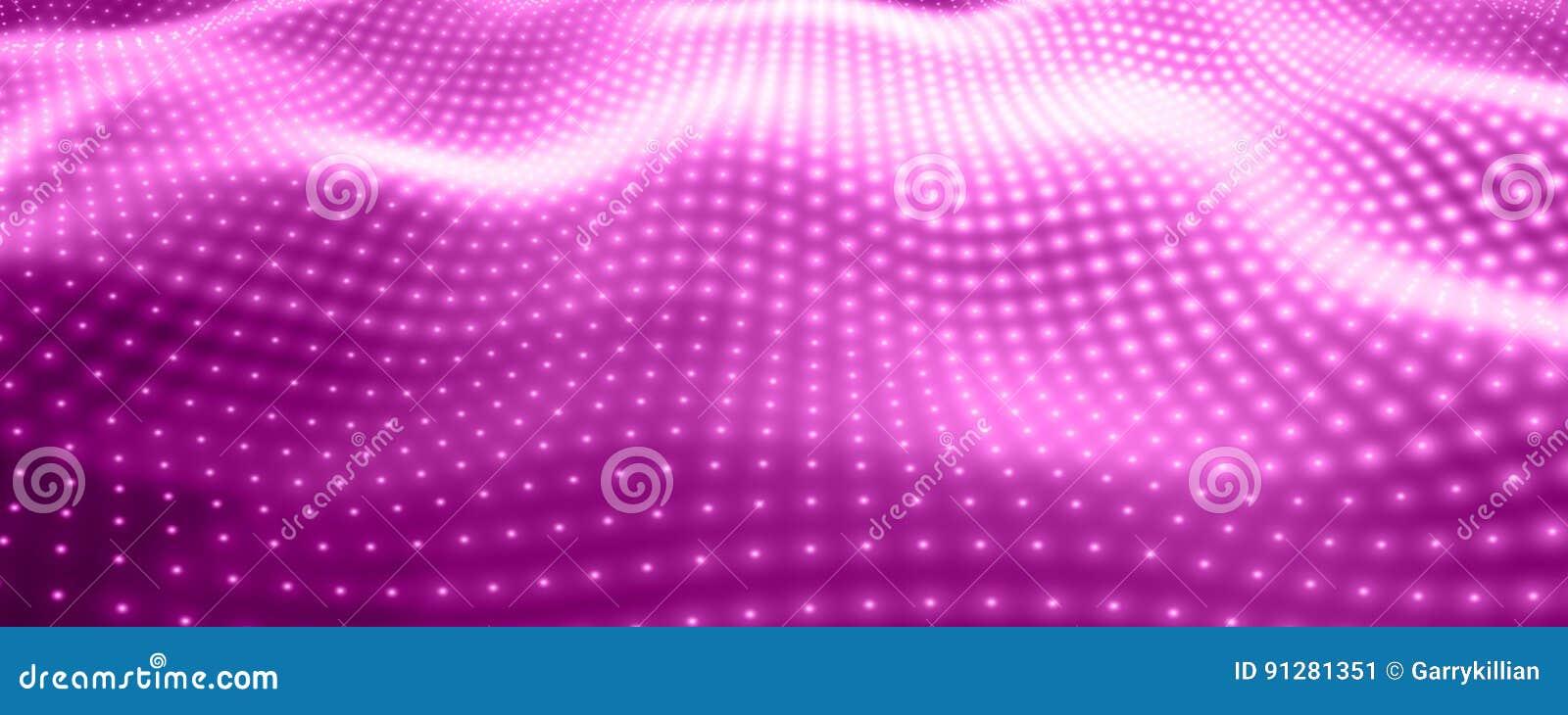 Abstrakt vektorbakgrund med violetta neonljus som bildar krabb yttersida Flöde för neoncyberyttersida