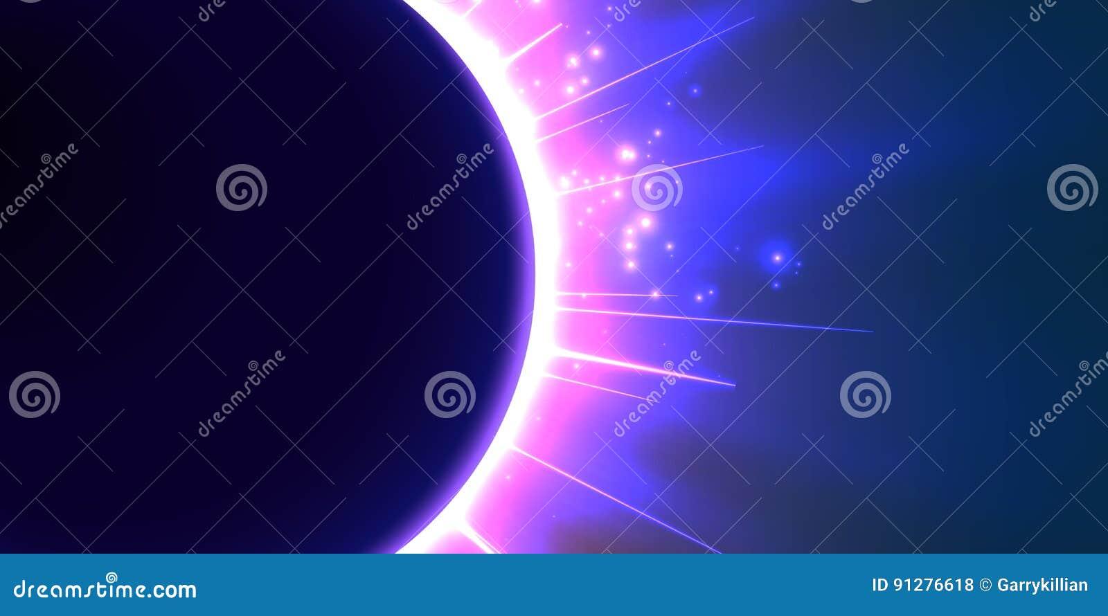 Abstrakt vektorblåttbakgrund med planeten och förmörkelse av dess stjärna
