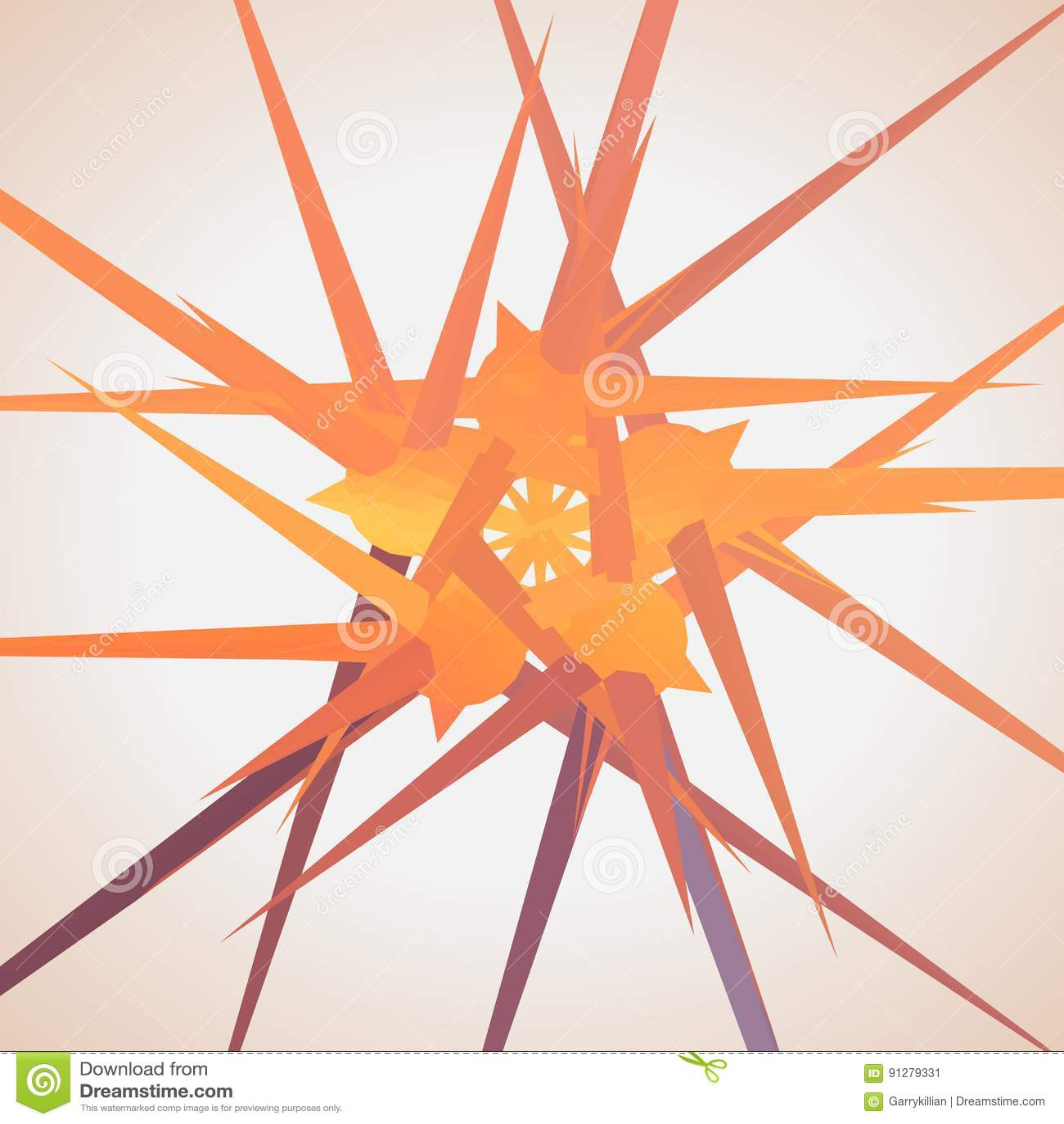 Abstrakt vektoringreppsstjärna Kaotiskt förbindelsepunkter och polygoner som flyger i utrymme Flygskräp futuristic