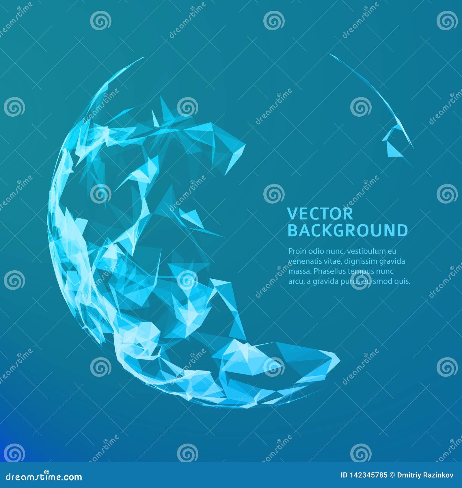 Abstrakt vektormusiksfär Futuristisk technobakgrund Bakgrund för affärspresentation abstrakt blue