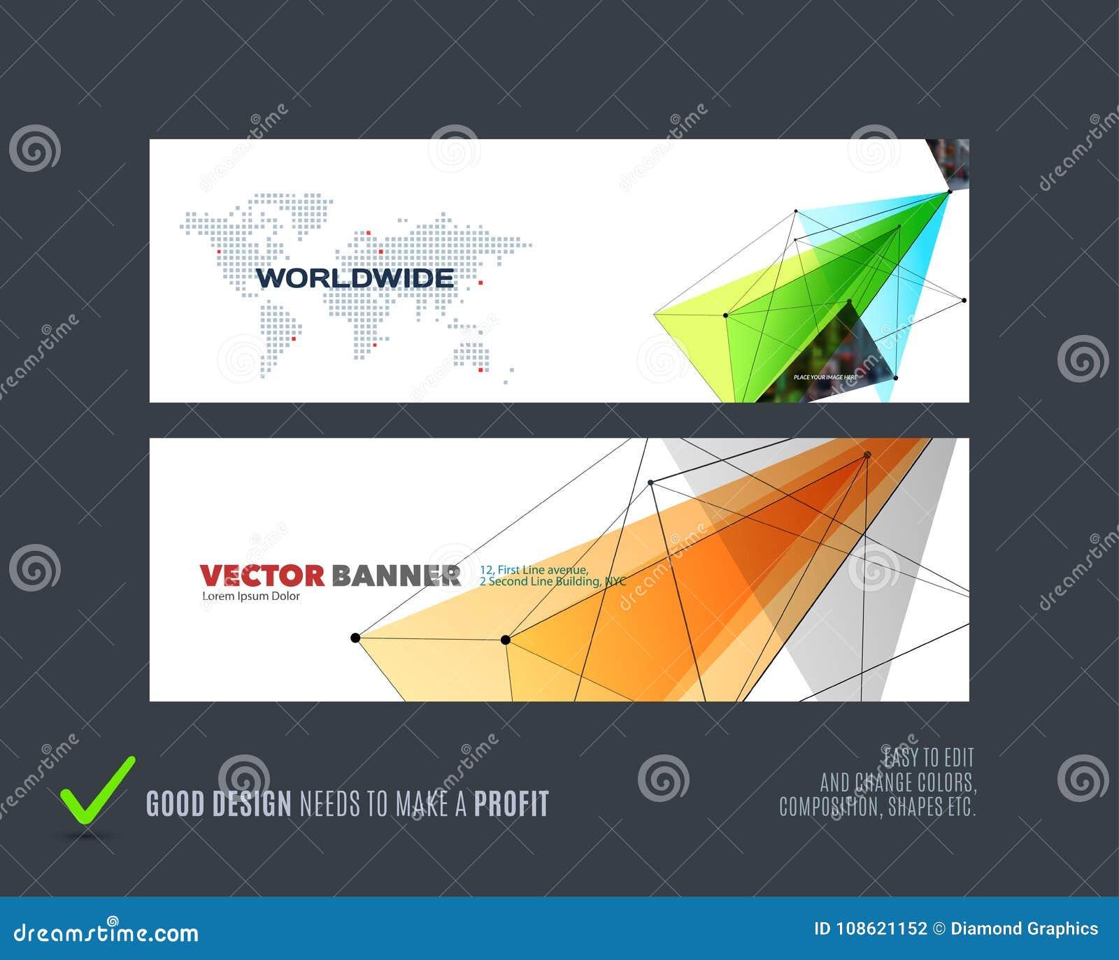 Abstrakt vektoruppsättning av moderna horisontalwebsitebaner med den färgglade triangeln