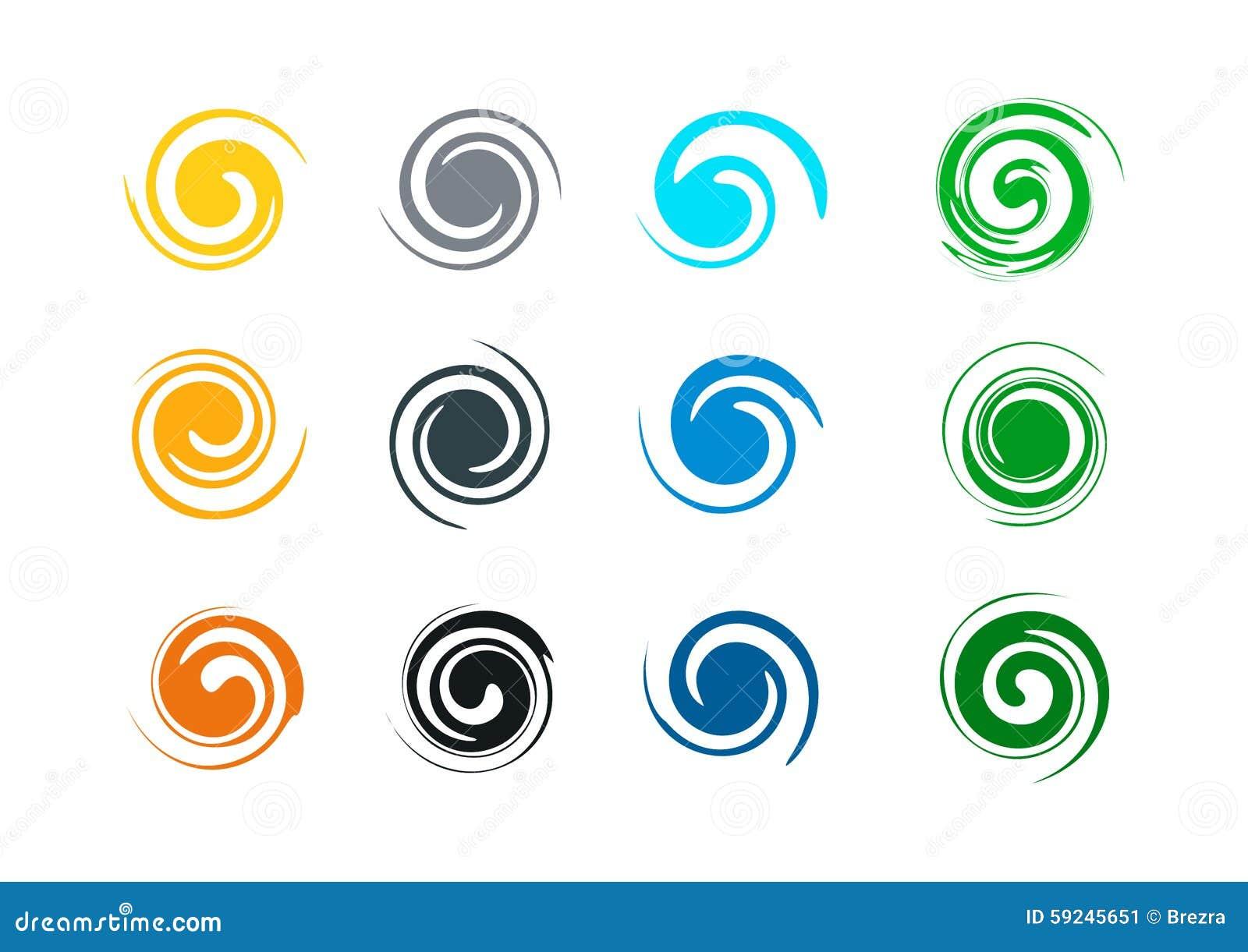 Abstrakt virvelgrungelogo och färgstänkvåg, vind, vatten, flamma, symbolsymbolsmall