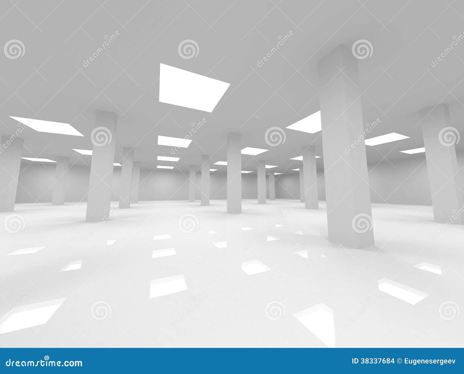 Abstrakt vit inre för öppet utrymmekontor 3d