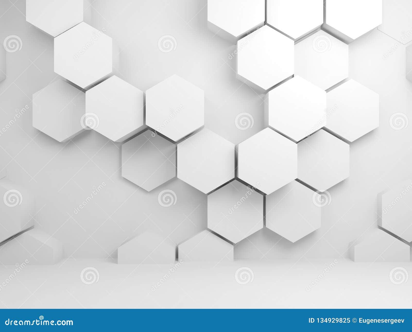 Abstrakt vit inre med sexhörningsmodell 3 D