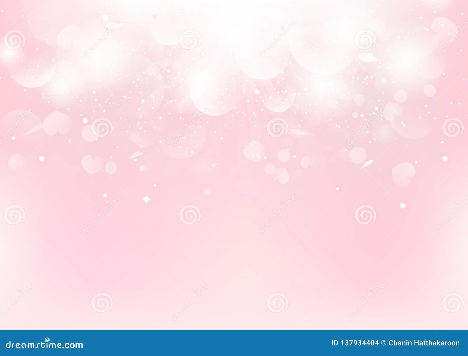 Abstrakt, walentynka dnia fantazja, różowy rozmyty z rozprasza różanego płatek i serce, Bokeh romantycznego tła sezonowy wakacyjn