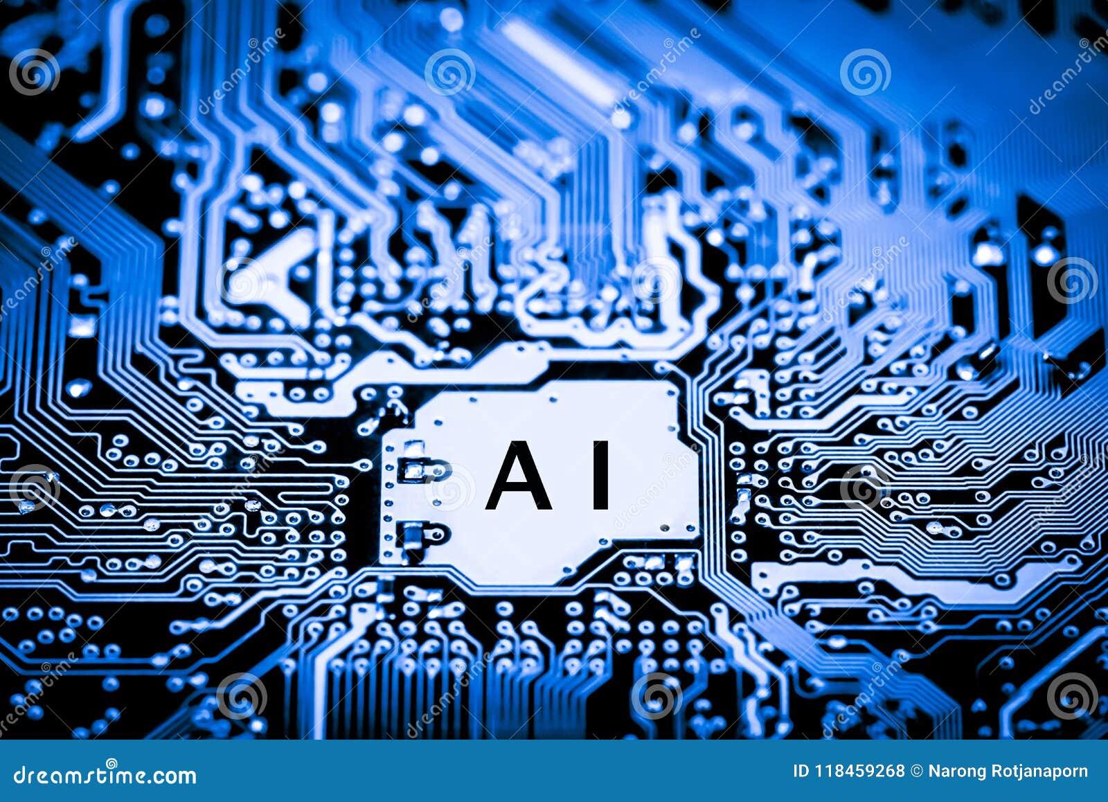 Abstrakt, zakończenie up Mainboard Elektronicznego komputeru tło sztuczna inteligencja, ai