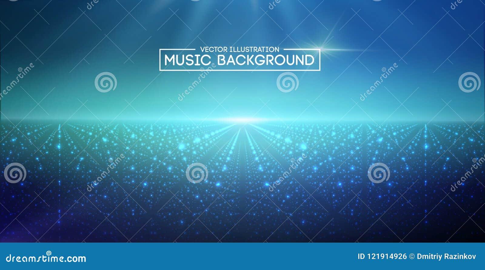 Abstrakta bakgrundsblått för musik Utjämnaren för musik som visar solida vågor med musik, vinkar, musikbakgrundsutjämnaren